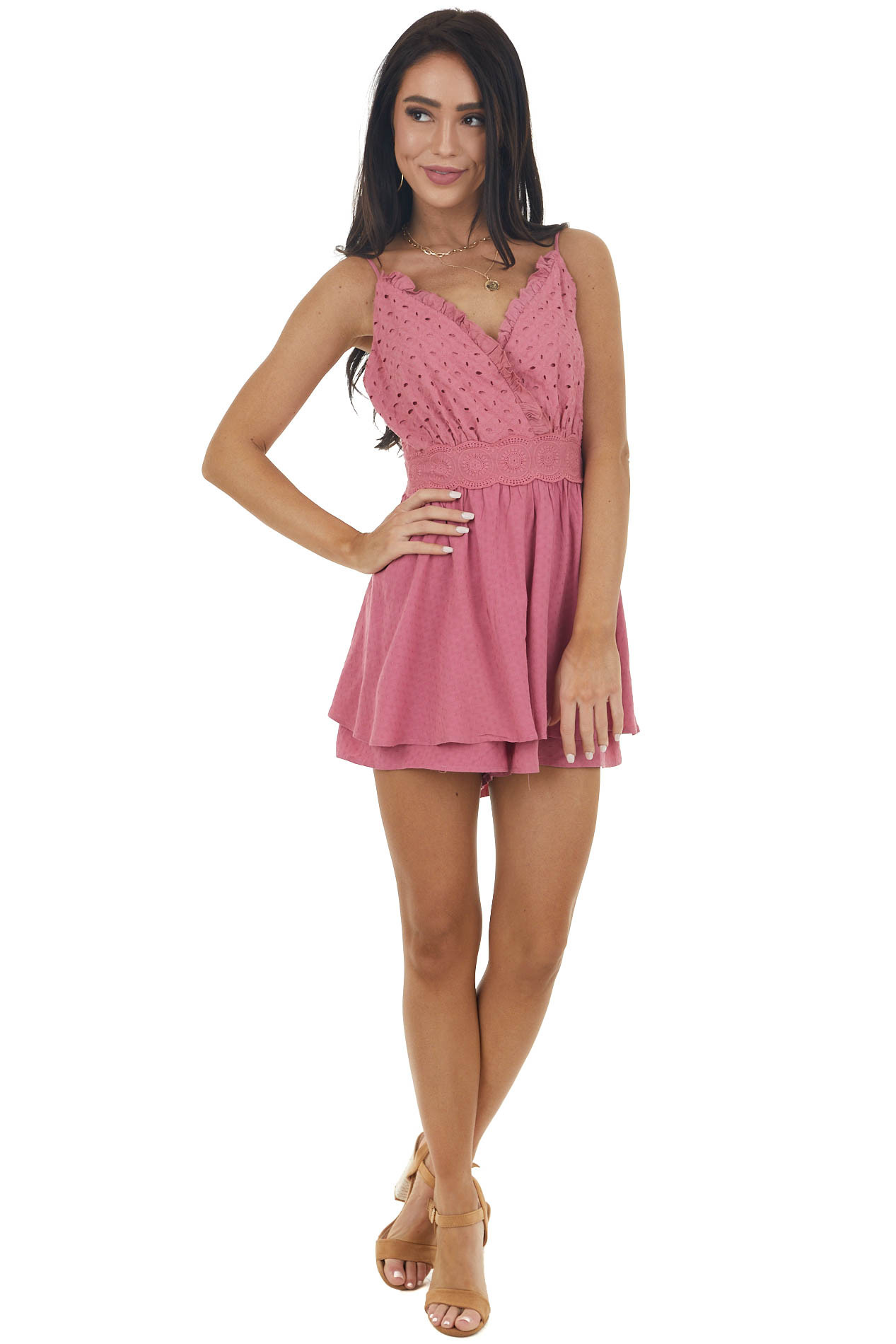 Thulian Pink Sleeveless Romper with Eyelet Lace Details