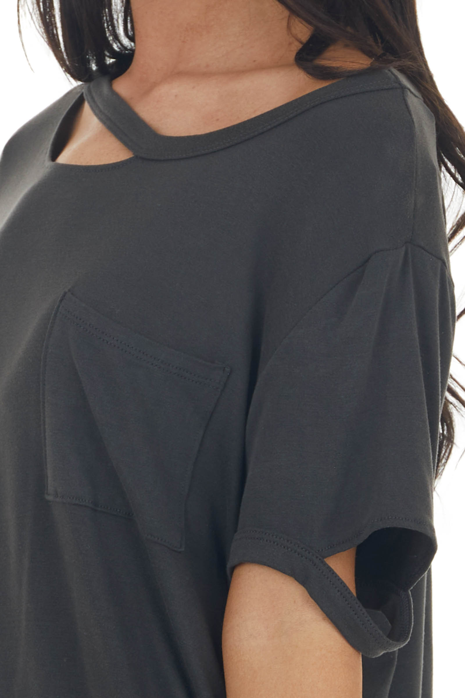 Faded Black Short Sleeve Cut Out Knit Tee with Chest Pocket