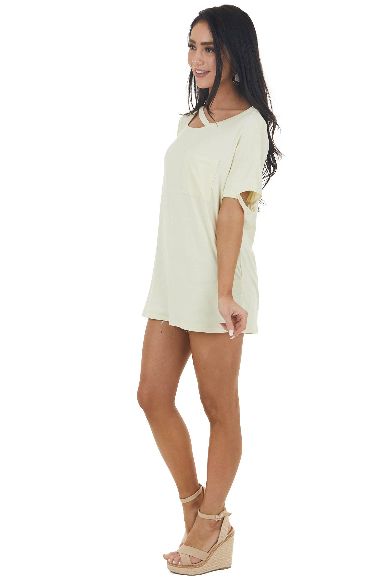 Faded Banana Short Sleeve Cut Out Knit Tee with Chest Pocket