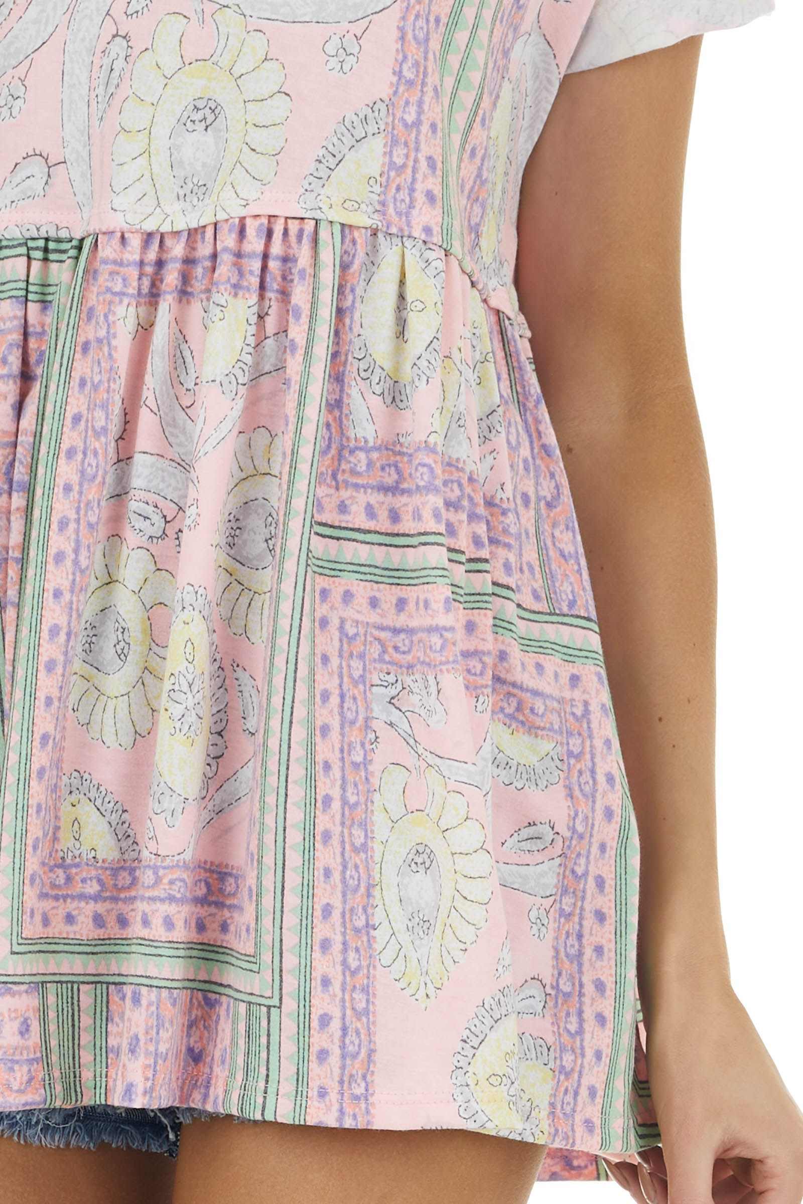 Rich Blush Paisley Print Short Sleeve Drop Waist Knit Top