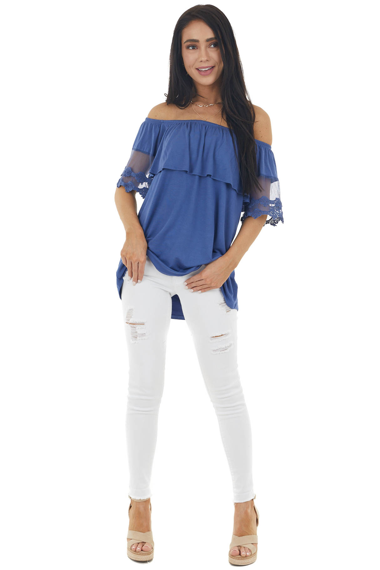 Dark Blue Off Shoulder Top with Bust Overlay and Lace Detail