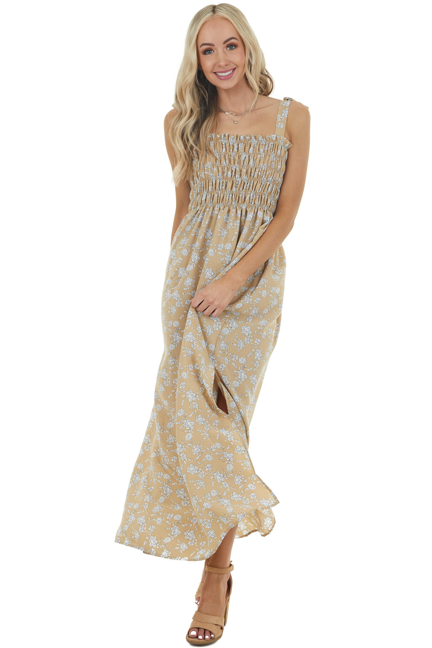 Dark Latte Floral Sleeveless Maxi Dress with Smocked Bodice