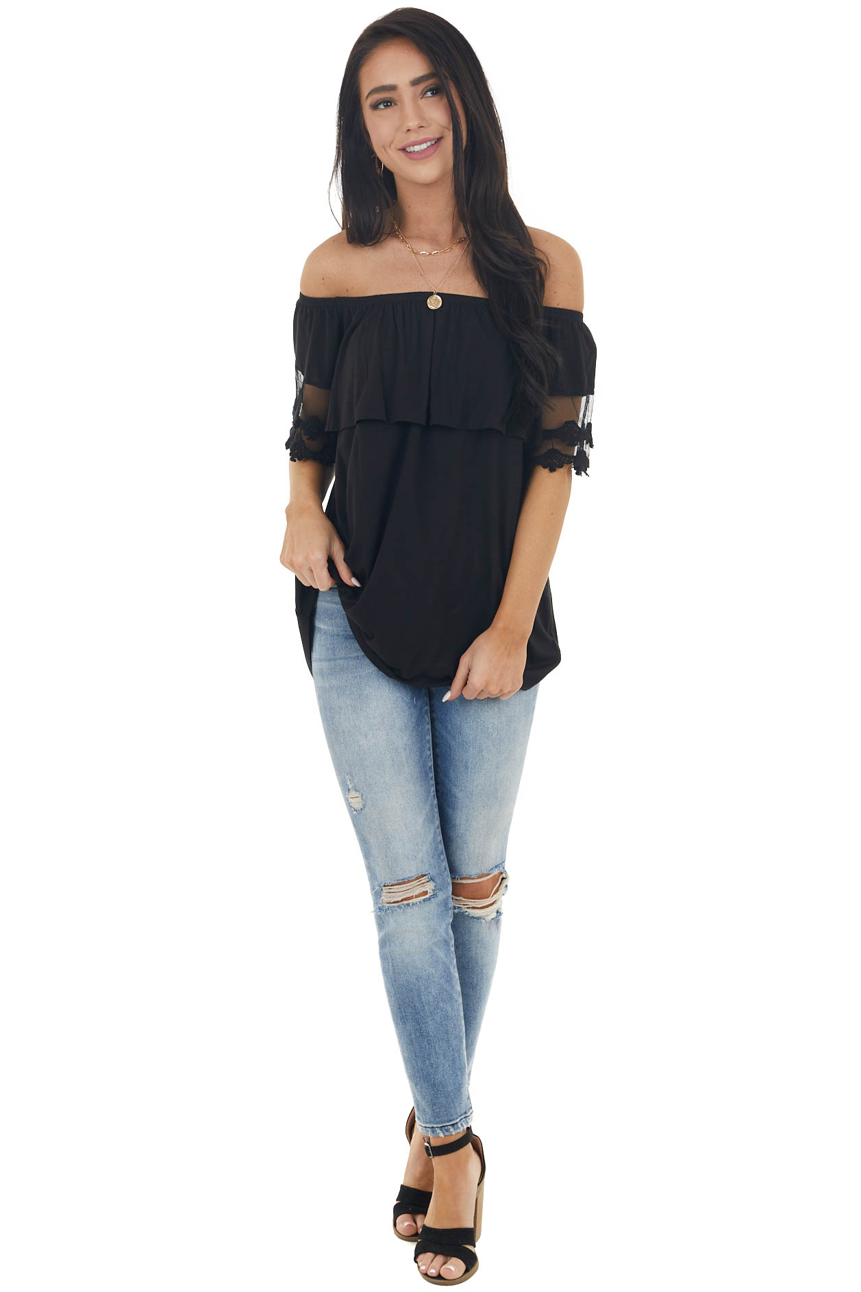Black Off Shoulder Top with Bust Overlay and Lace Detail