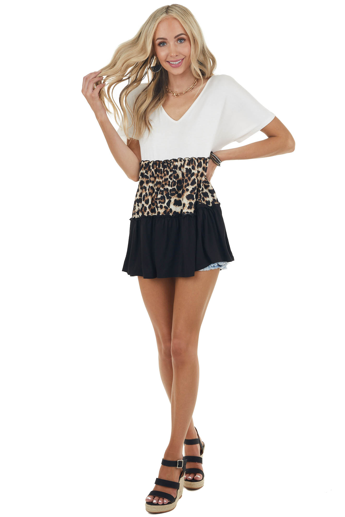 Ivory and Leopard Print Colorblock Stretchy Knit Tunic Top