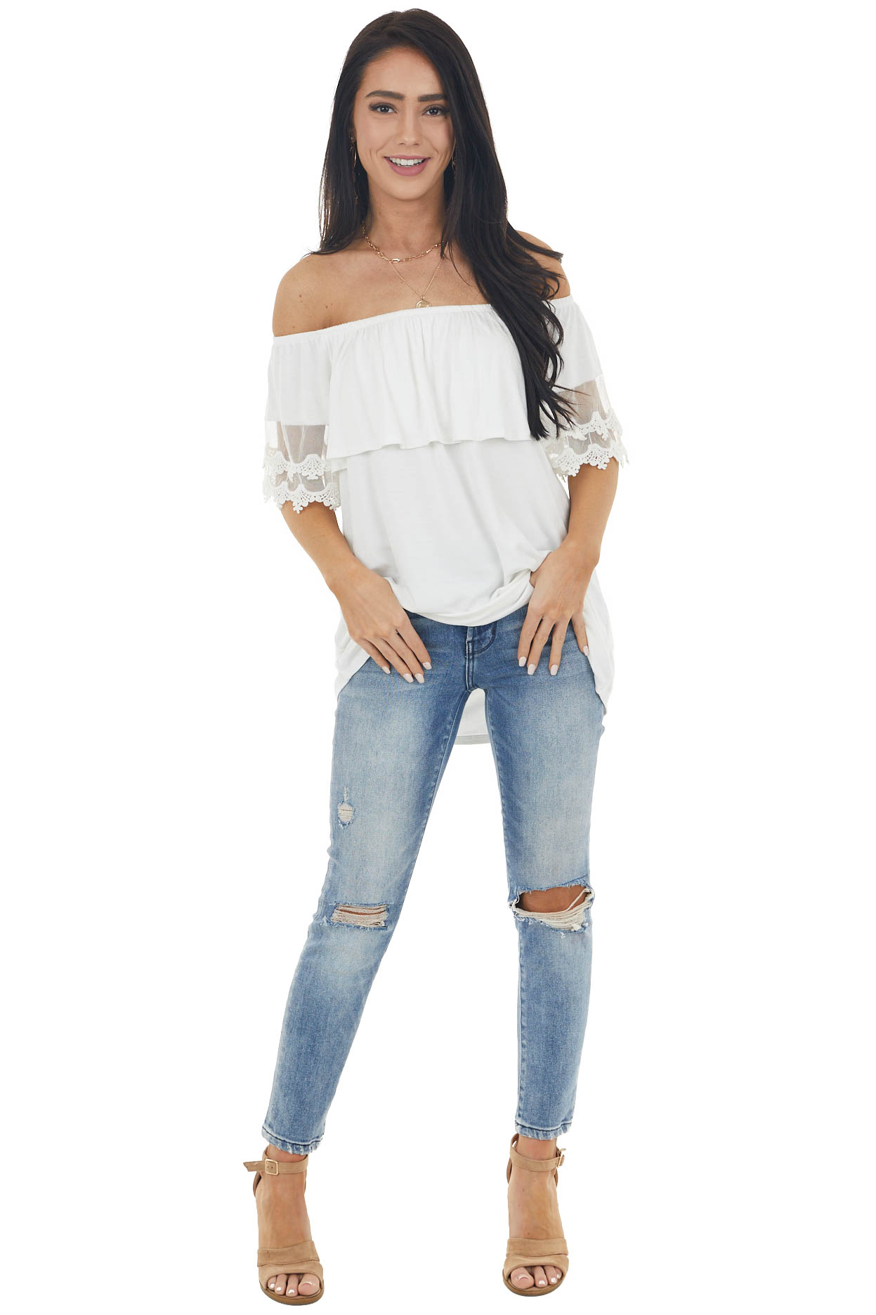 Ivory Off Shoulder Top with Bust Overlay and Lace Details
