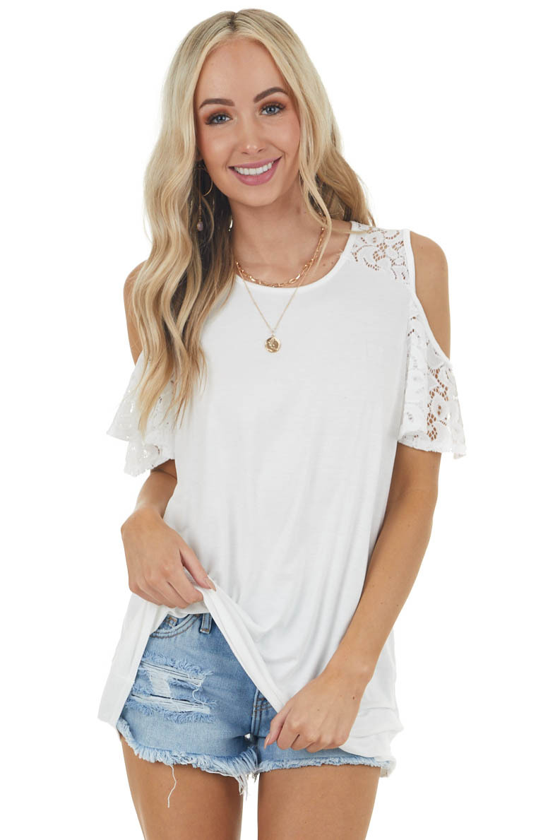 Ivory Cold Shoulder Short Sleeve Knit Top with Lace Detail