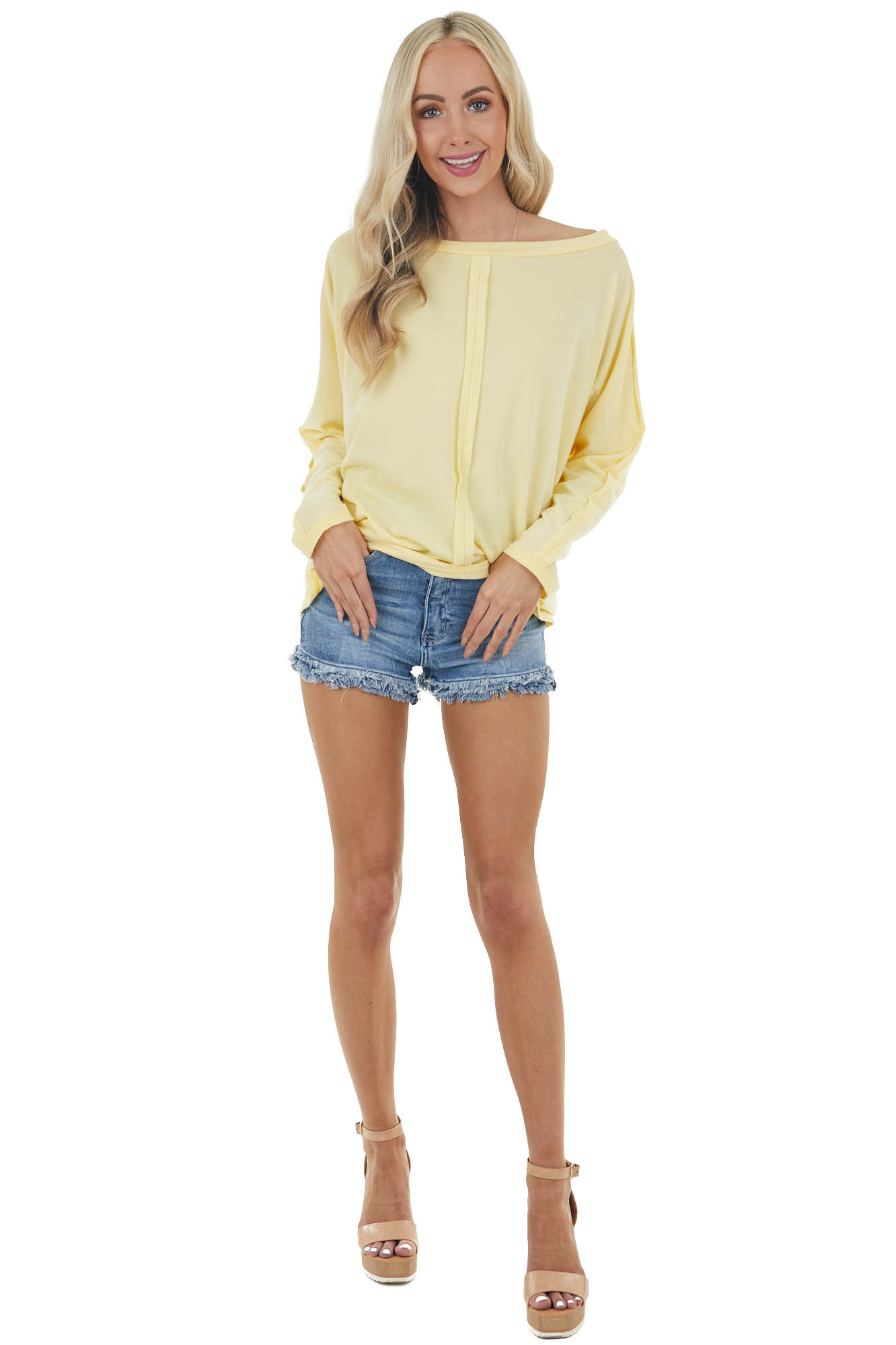 Pastel Lemon Long Sleeve Knit Top with Outseam Details