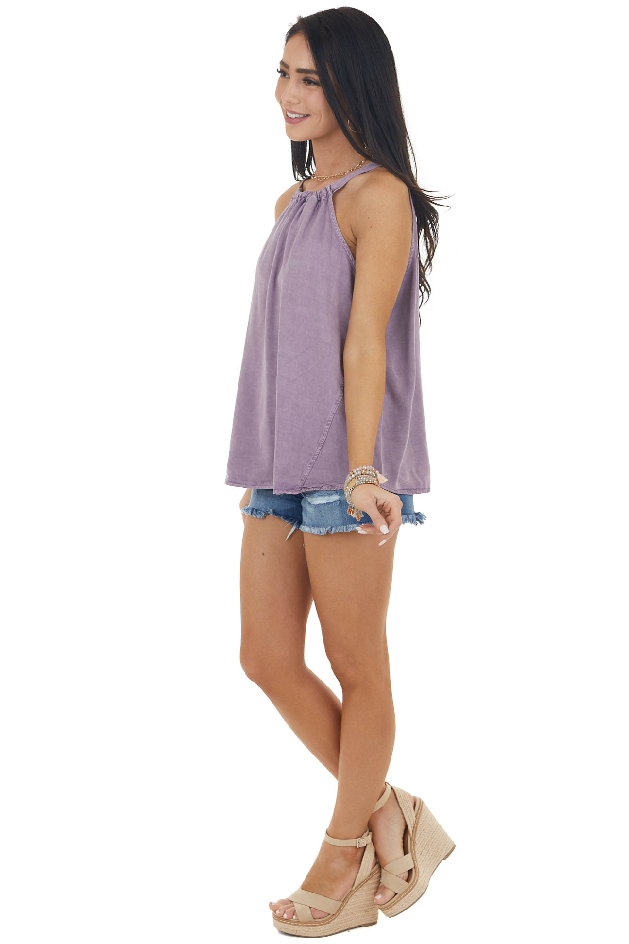 Lavender Washed Halter Sleeveless Top with Keyhole Detail