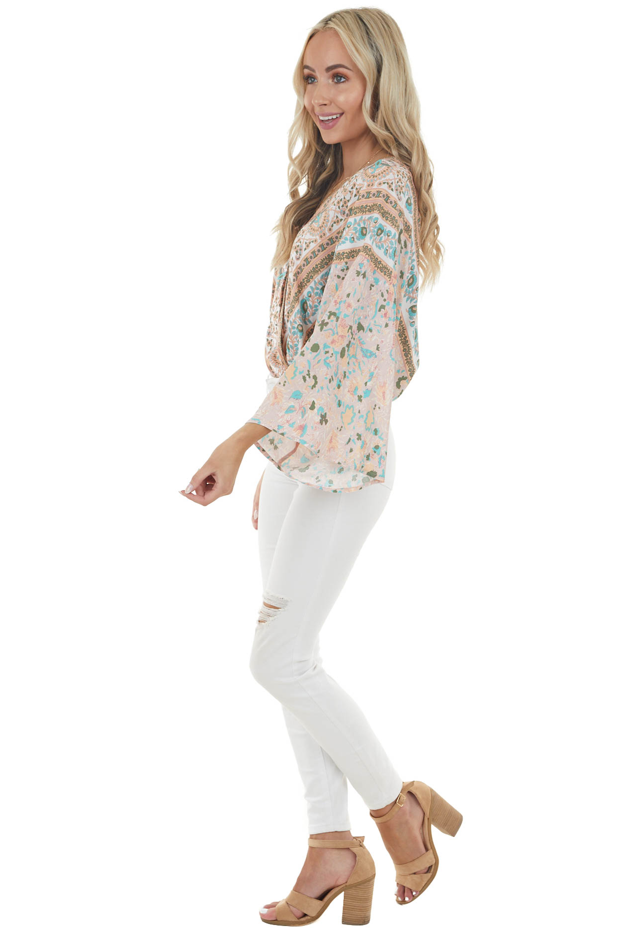 Peach Abstract Print Woven Bodysuit with Long Sleeves