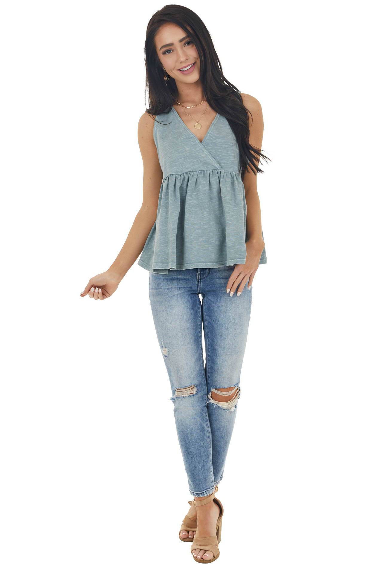 Dusty Sage Sleeveless Babydoll Top with Raw Details