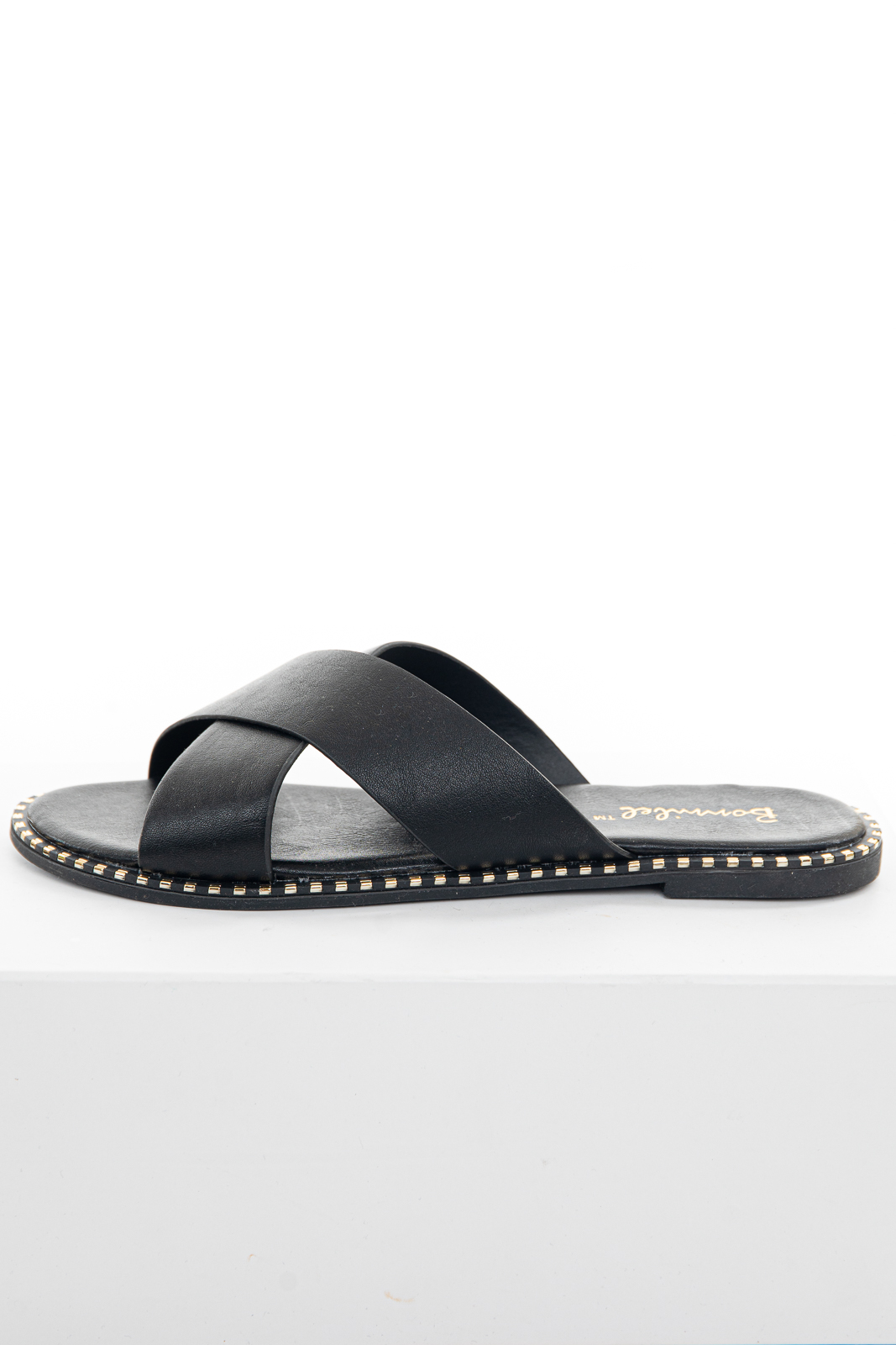 Black Criss Cross Slip On Sandals with Metallic Details