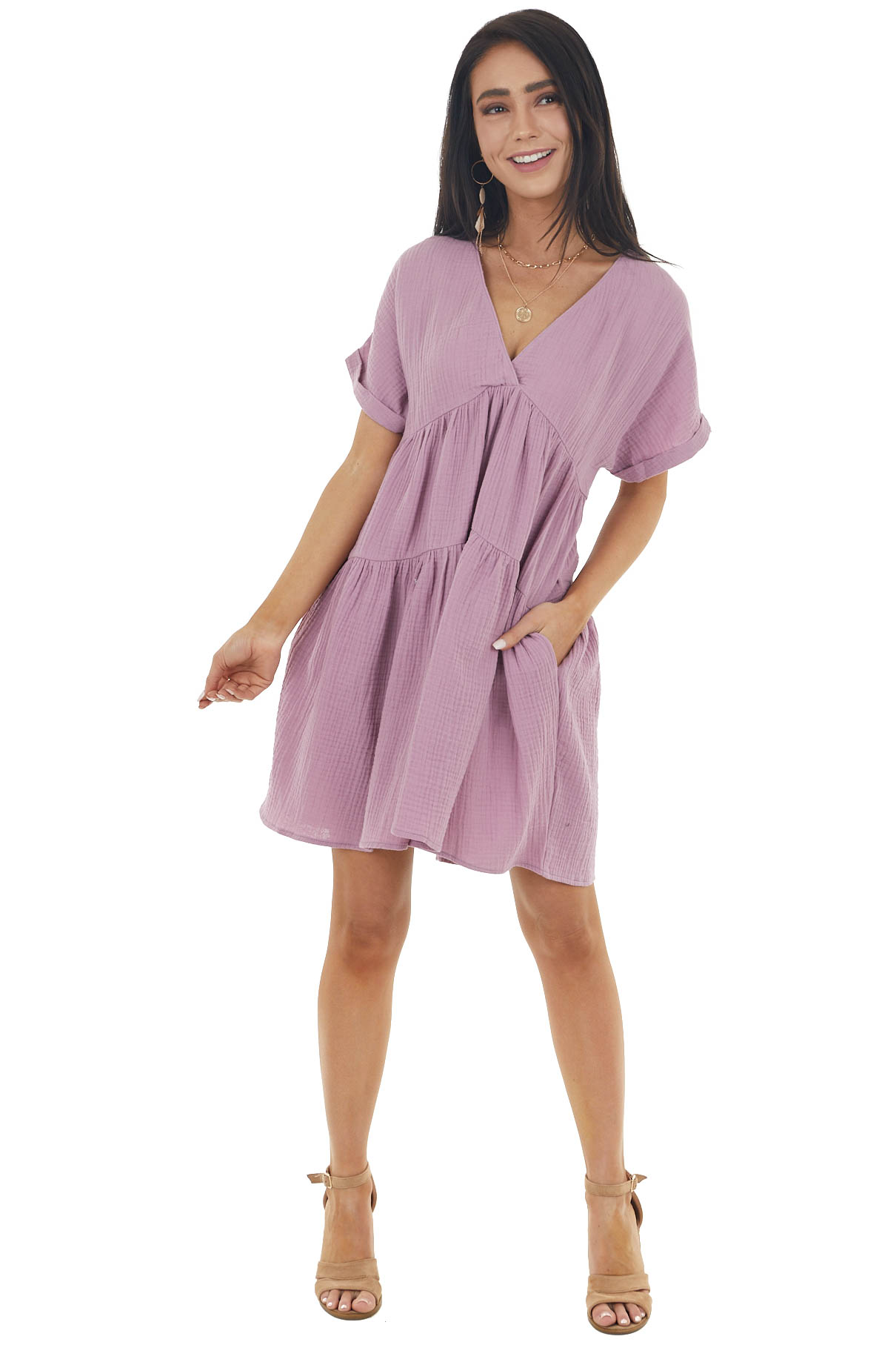 Pale Mauve Textured Babydoll Tiered Mini Woven Dress