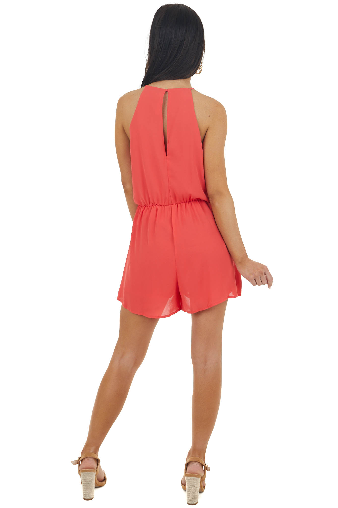 Crimson Halter Neck Woven Romper with Open Keyhole Back