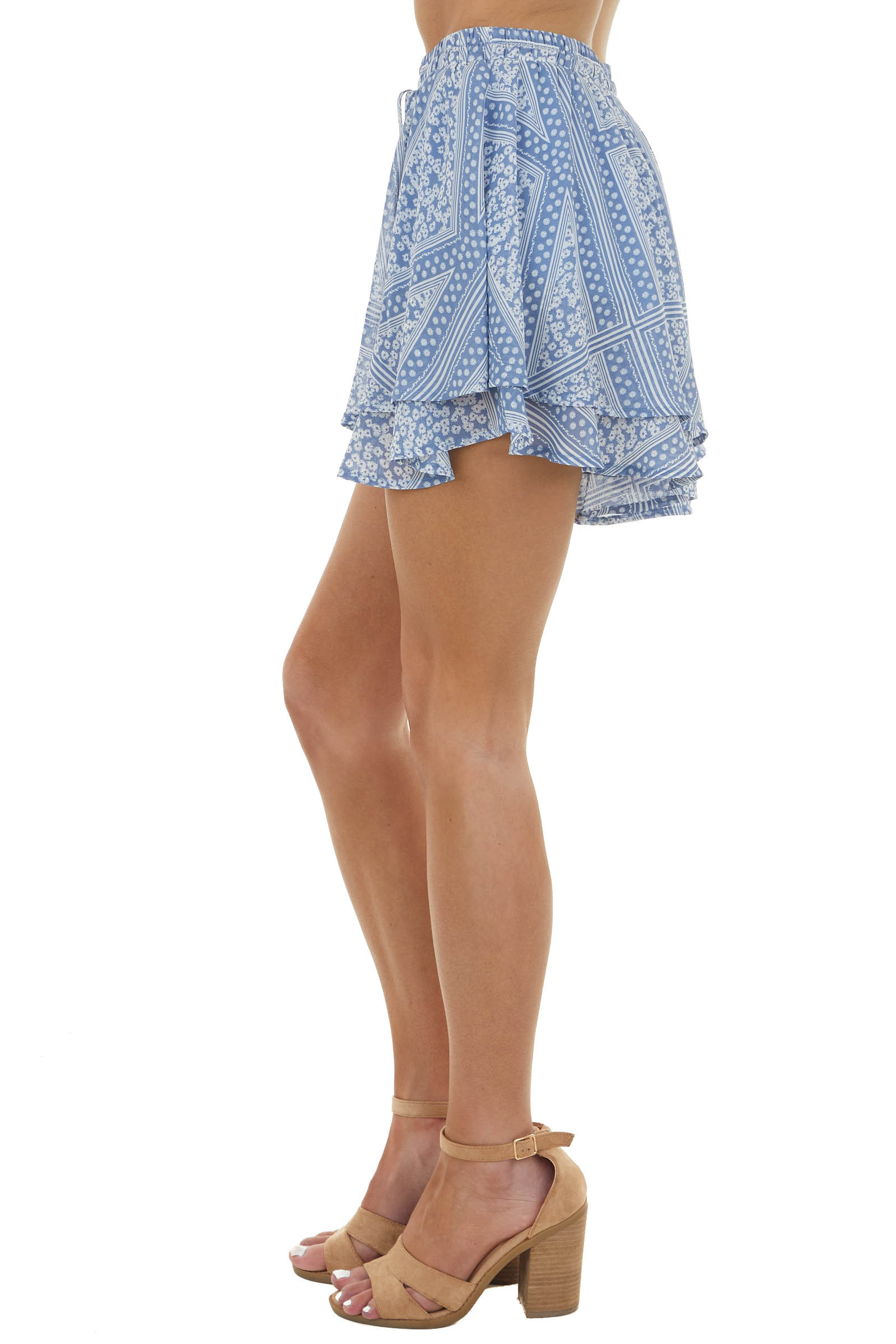 Dusty Blue Printed Woven Layered Shorts with Drawstring Tie