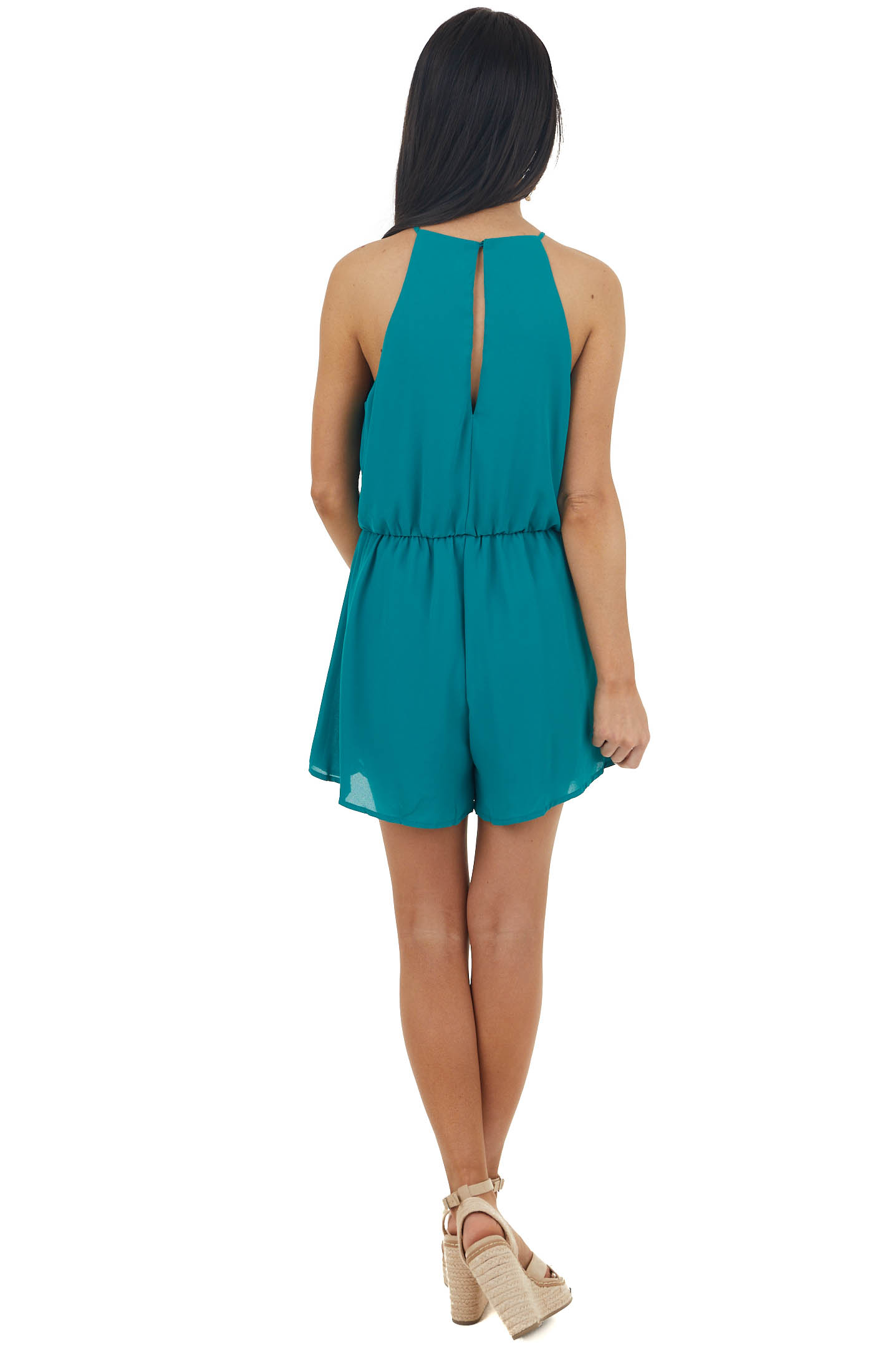 Pine Halter Neck Woven Romper with Open Keyhole Back