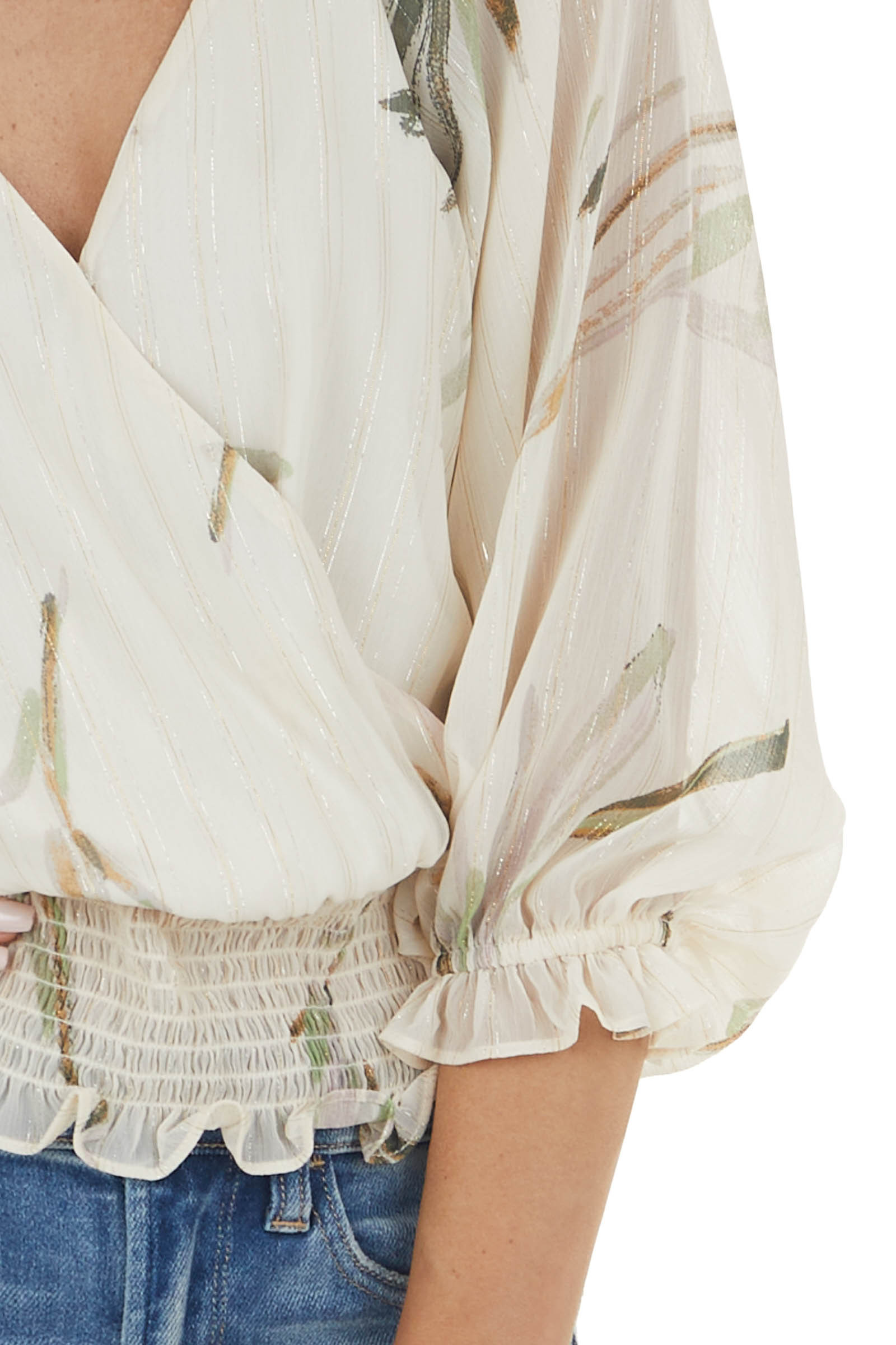 Vanilla Woven Surplice Top with Abstract Leaf Details