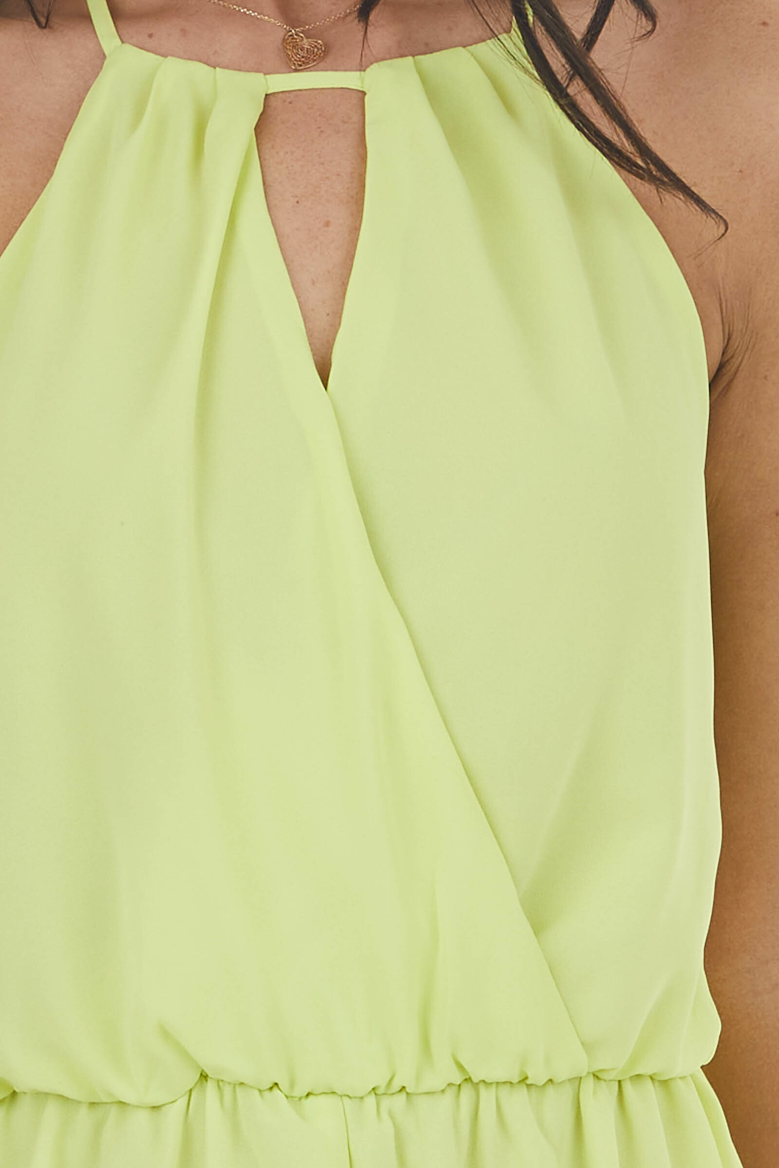 Neon Lime Halter Neck Woven Romper with Open Keyhole Back