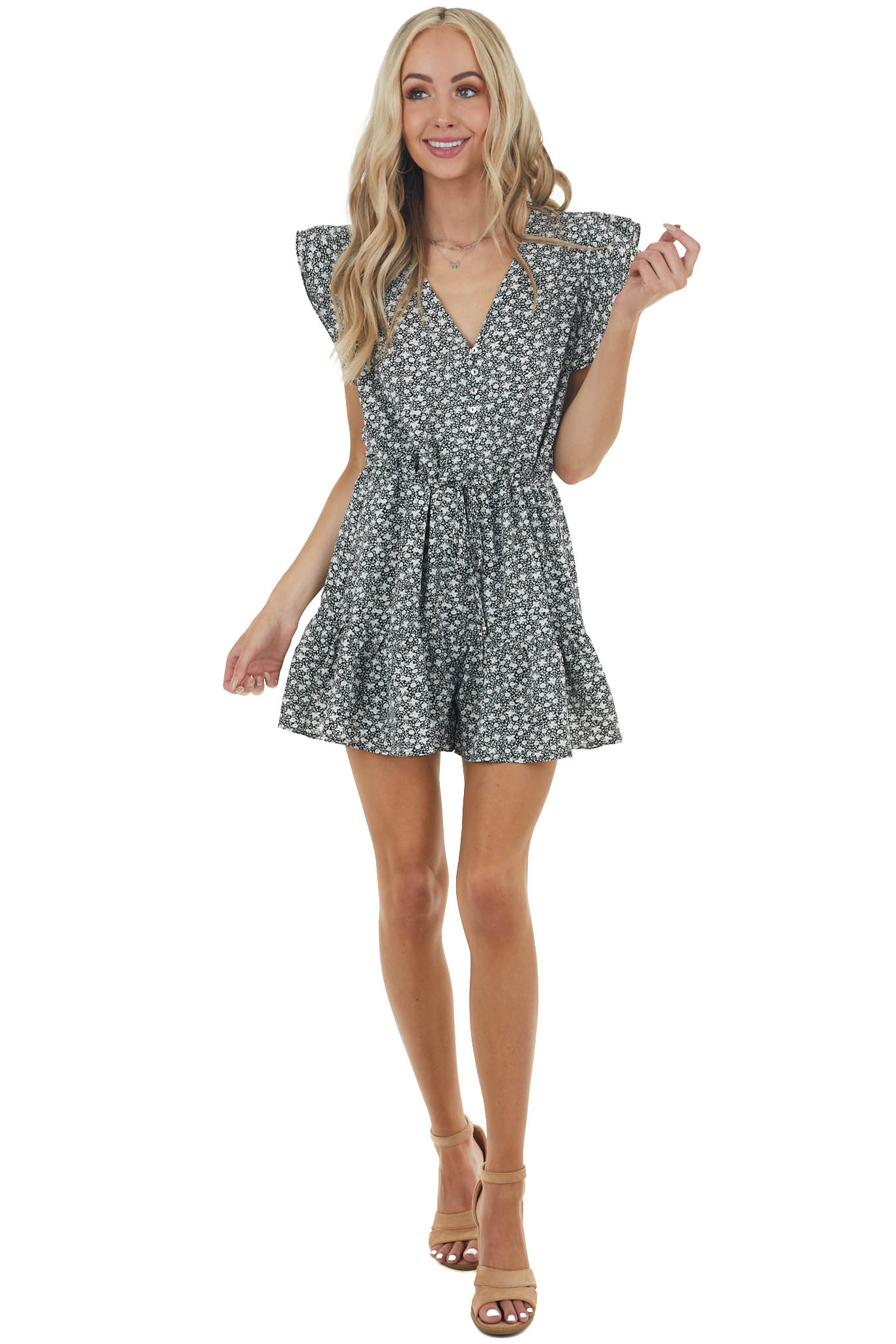 Black Ditsy Floral Cinch Waist Romper with Ruffle Details