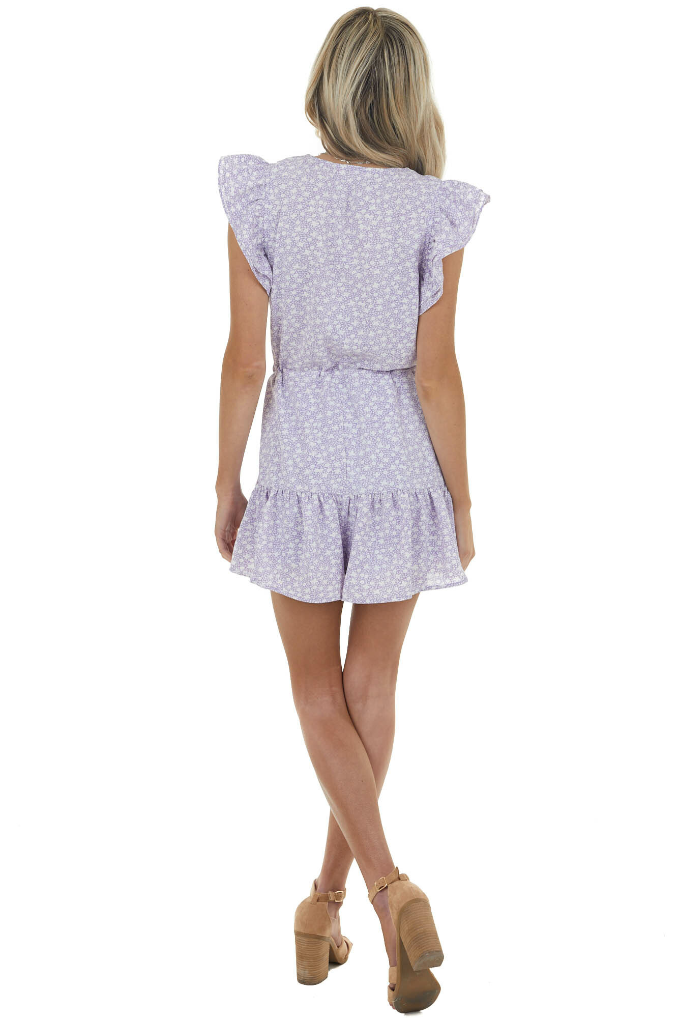 Iris Ditsy Floral Cinch Waist Romper with Ruffle Details