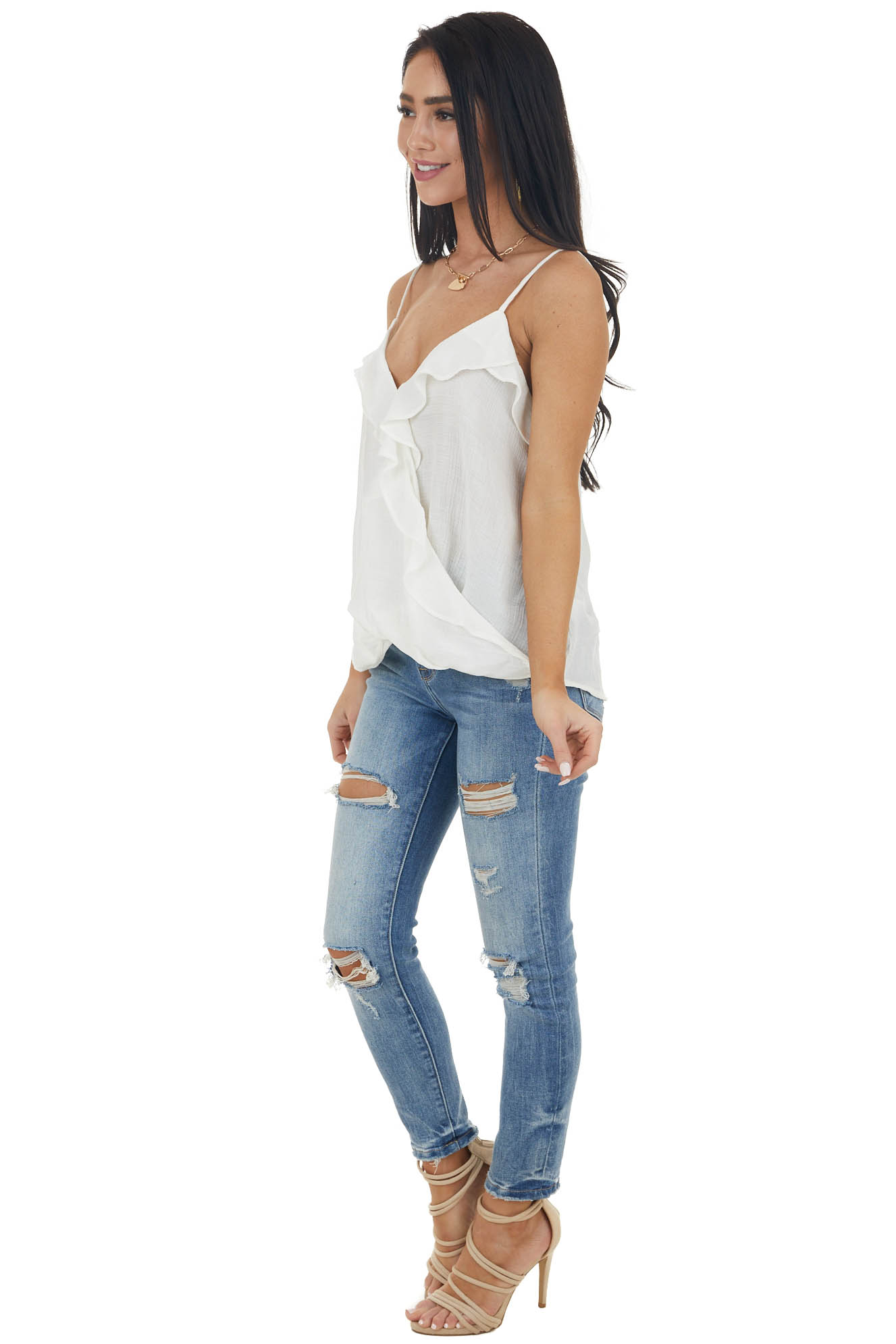 Pearl White Sleeveless Surplice Woven Top with Ruffle Detail