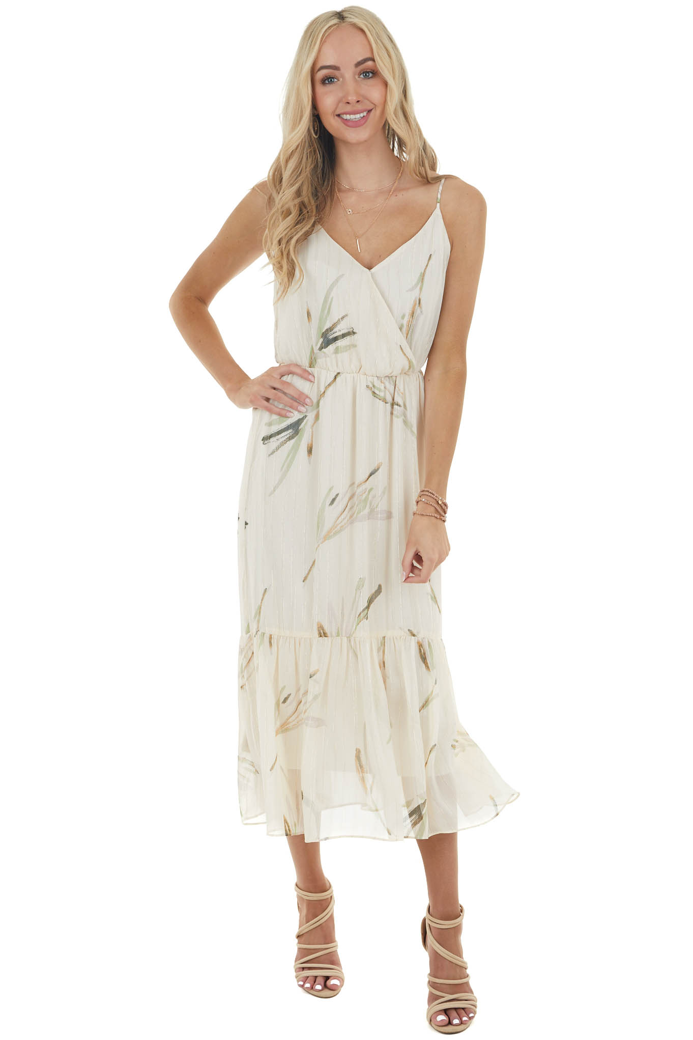 Vanilla Woven Surplice Dress with Abstract Leaf Details