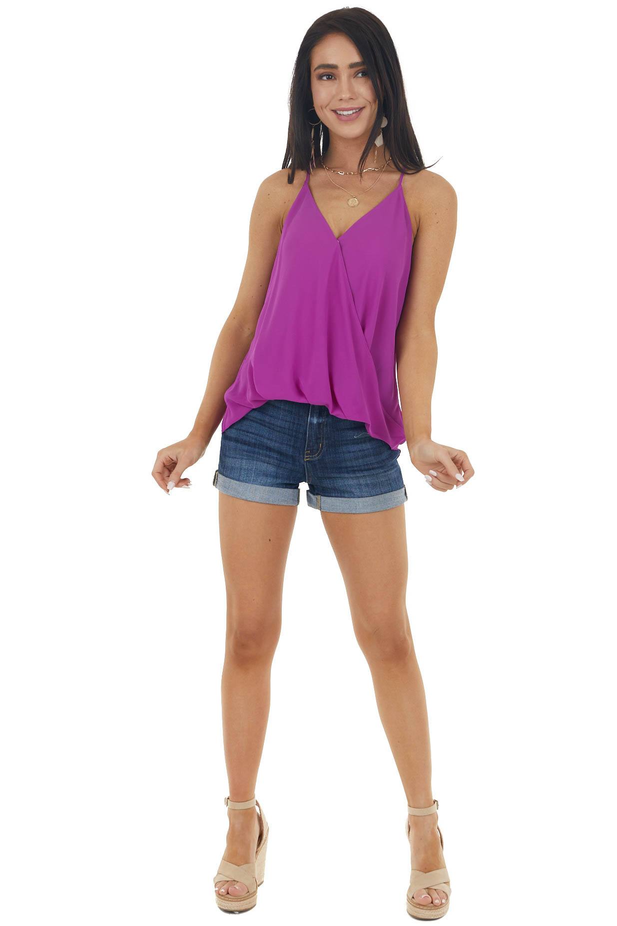 Dark Magenta Surplice Tank with Plunging Neckline