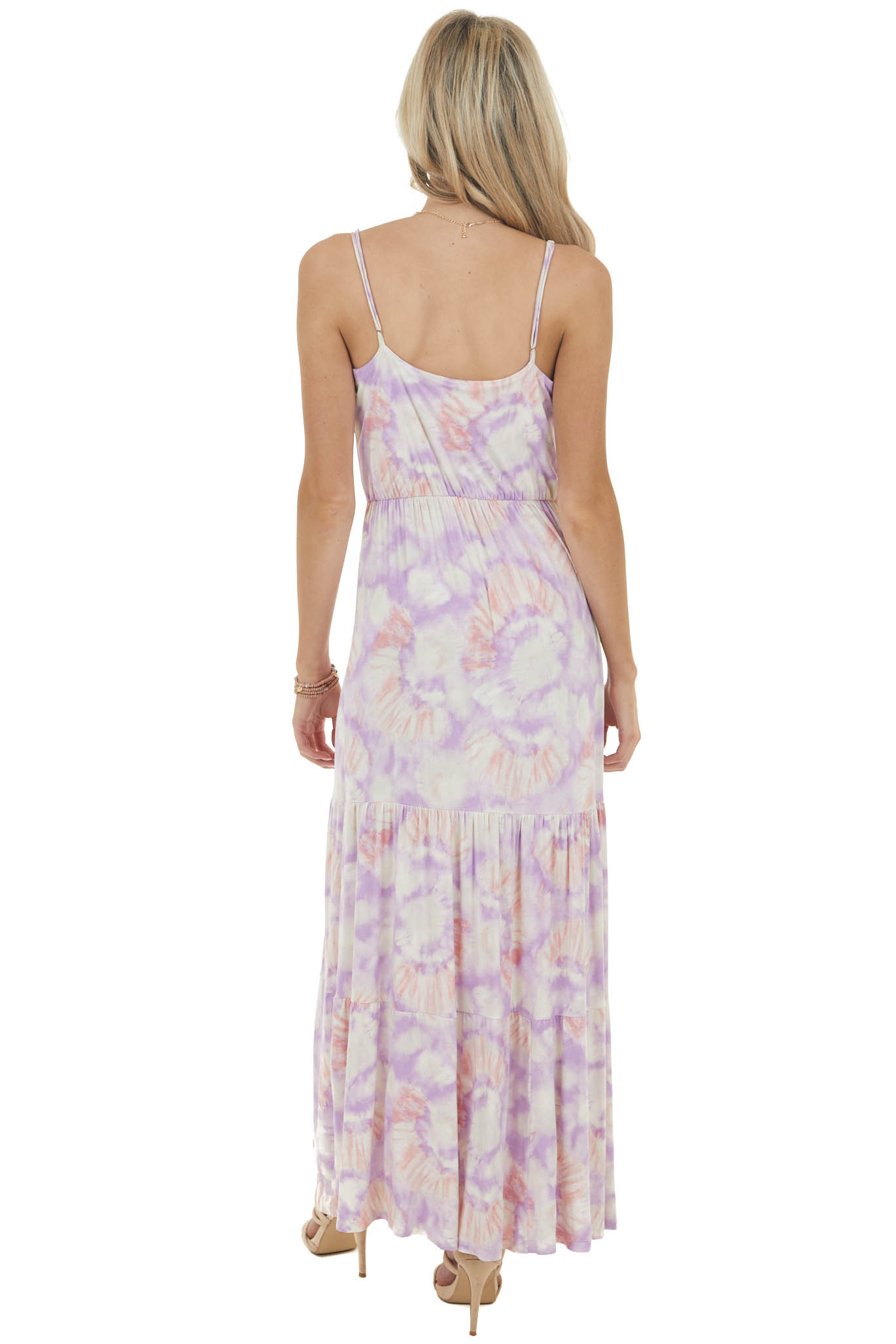 Iris Tie Dye Sleeveless Blouson Maxi Dress with Cinch Waist