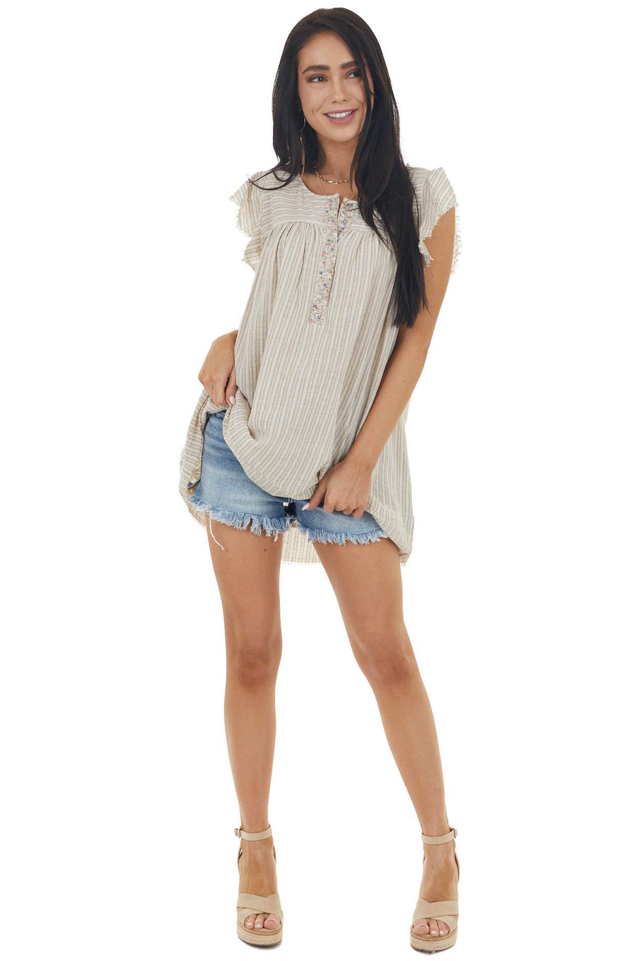 Latte Striped Babydoll Tunic Top with Frayed Details