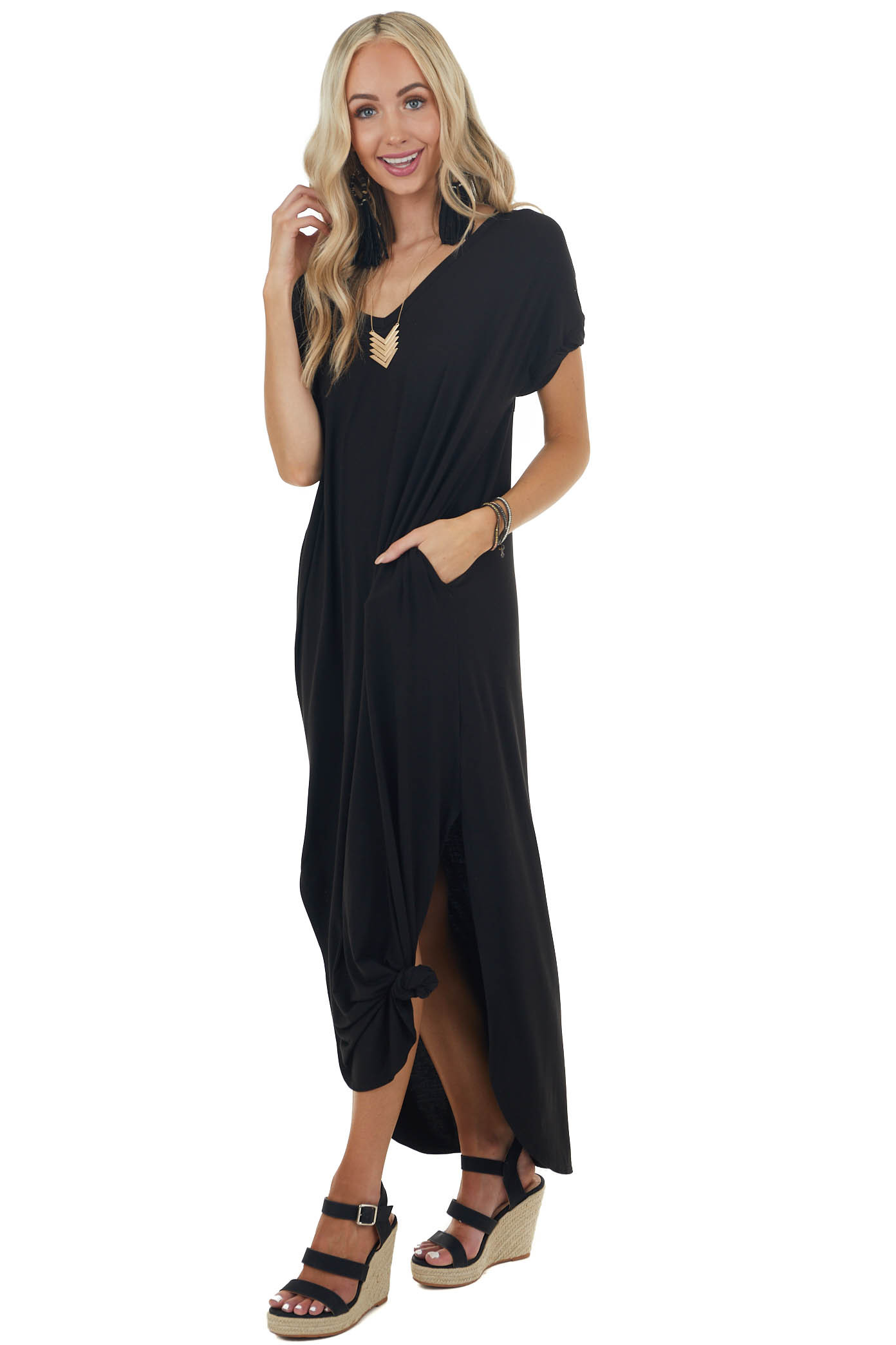 Black Maxi Dress with Side Slits and Side Pockets