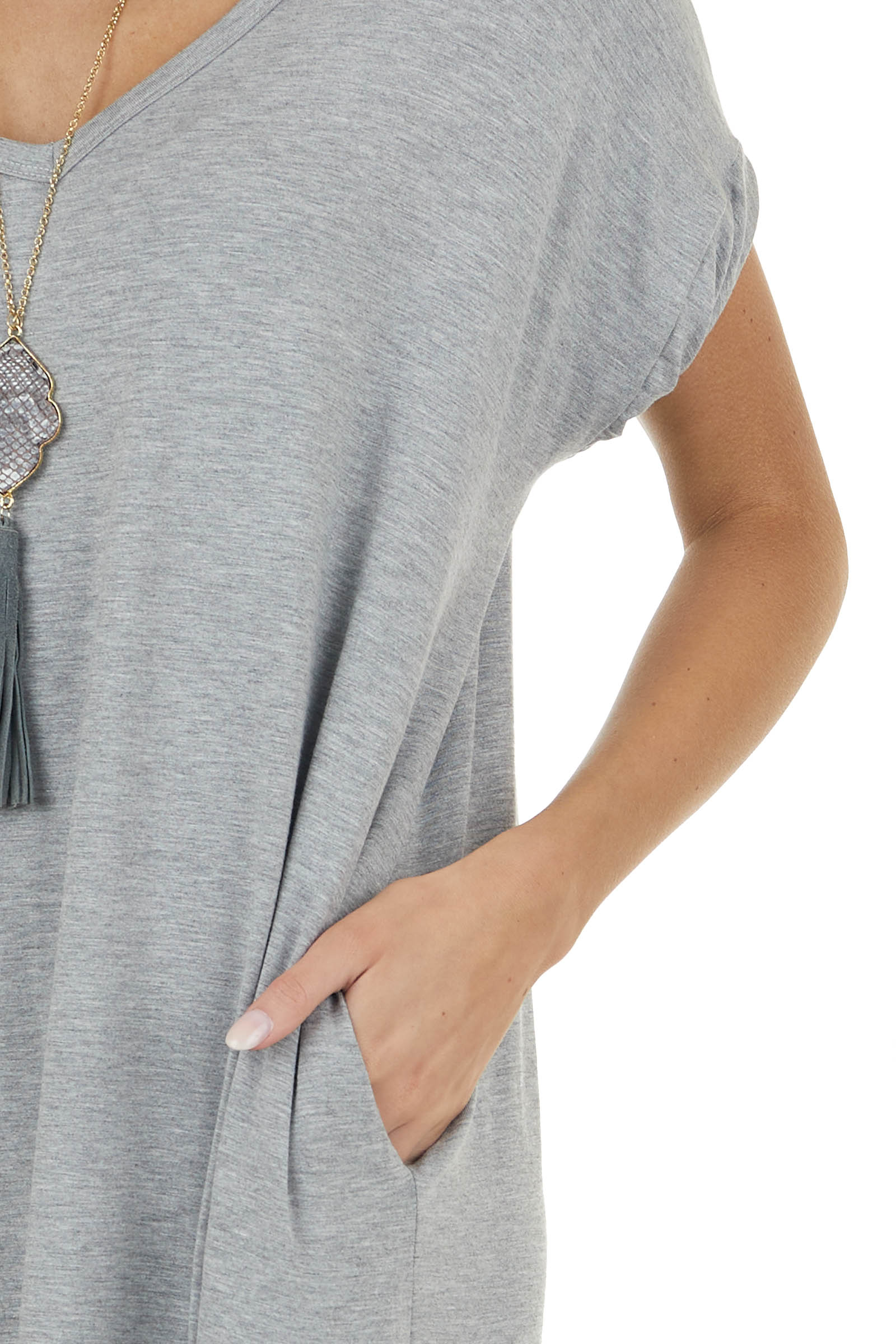 Heathered Grey Maxi Dress with Side Slits and Side Pockets