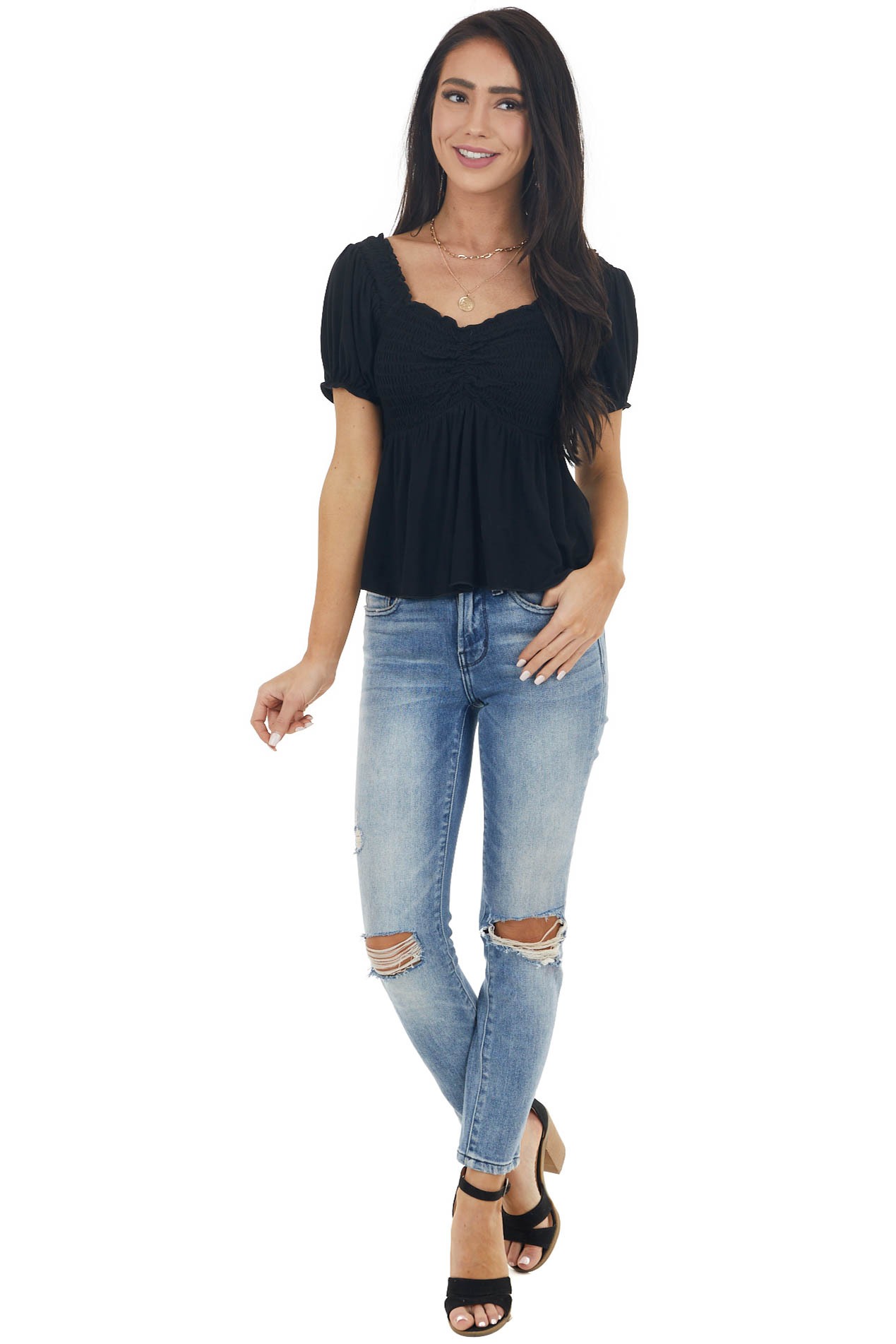 Black Short Sleeve Smocked Soft Knit Top with Ruching