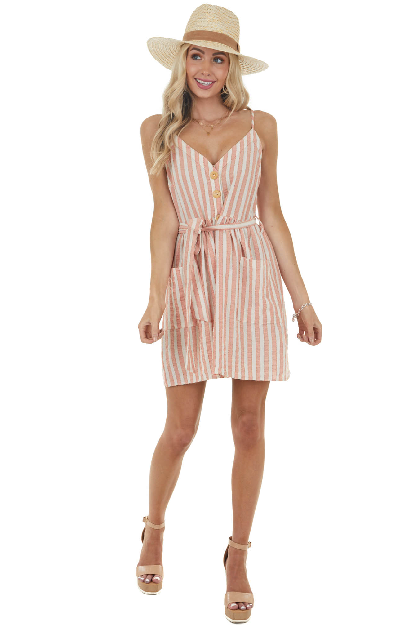 Faded Rust and Ivory Striped Button Down Mini Woven Dress