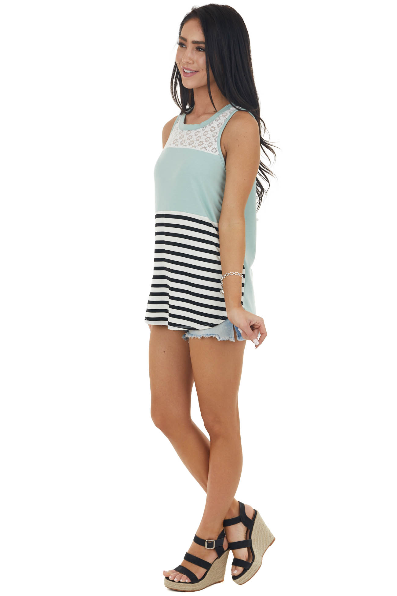 Sage and Stripes Sleeveless Knit Tank Top with Lace Yoke