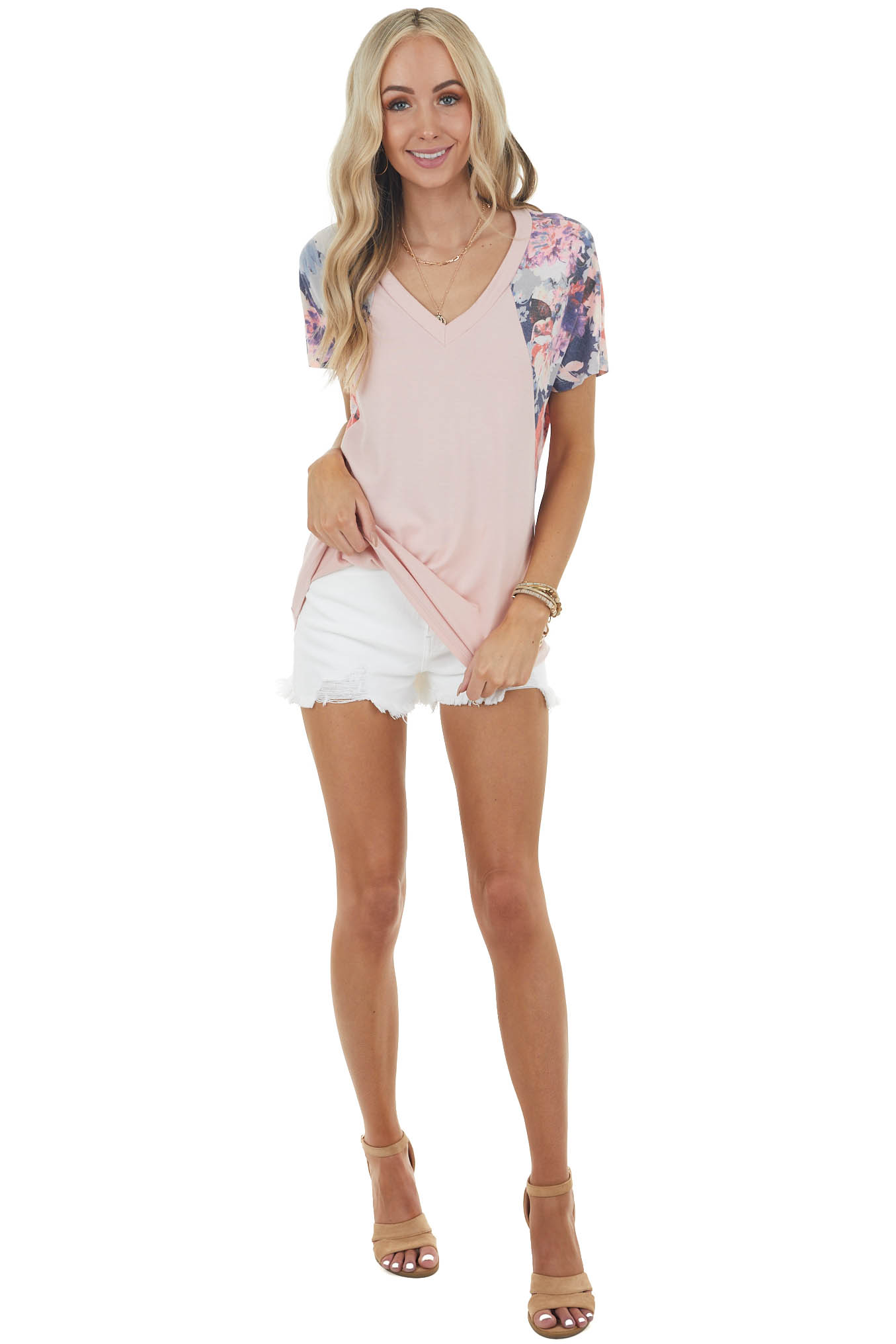 Dusty Blush Knit Top with Short Floral Raglan Sleeves