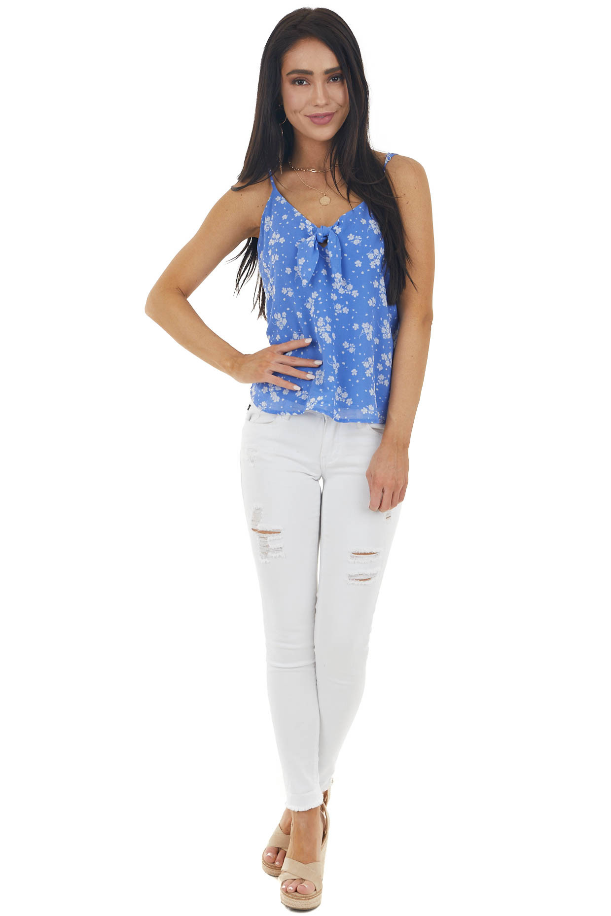 Cornflower Floral Print Sleeveless Blouse with Tie Detail