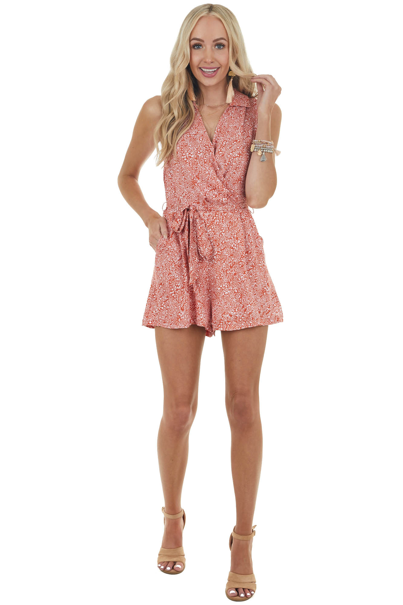 Rust and Ivory Abstract Print Sleeveless Surplice Romper