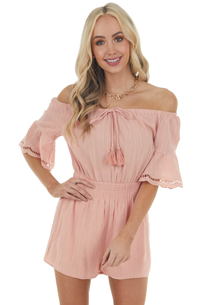 Dusty Peach Off the Shoulder Romper with Tassel Detail