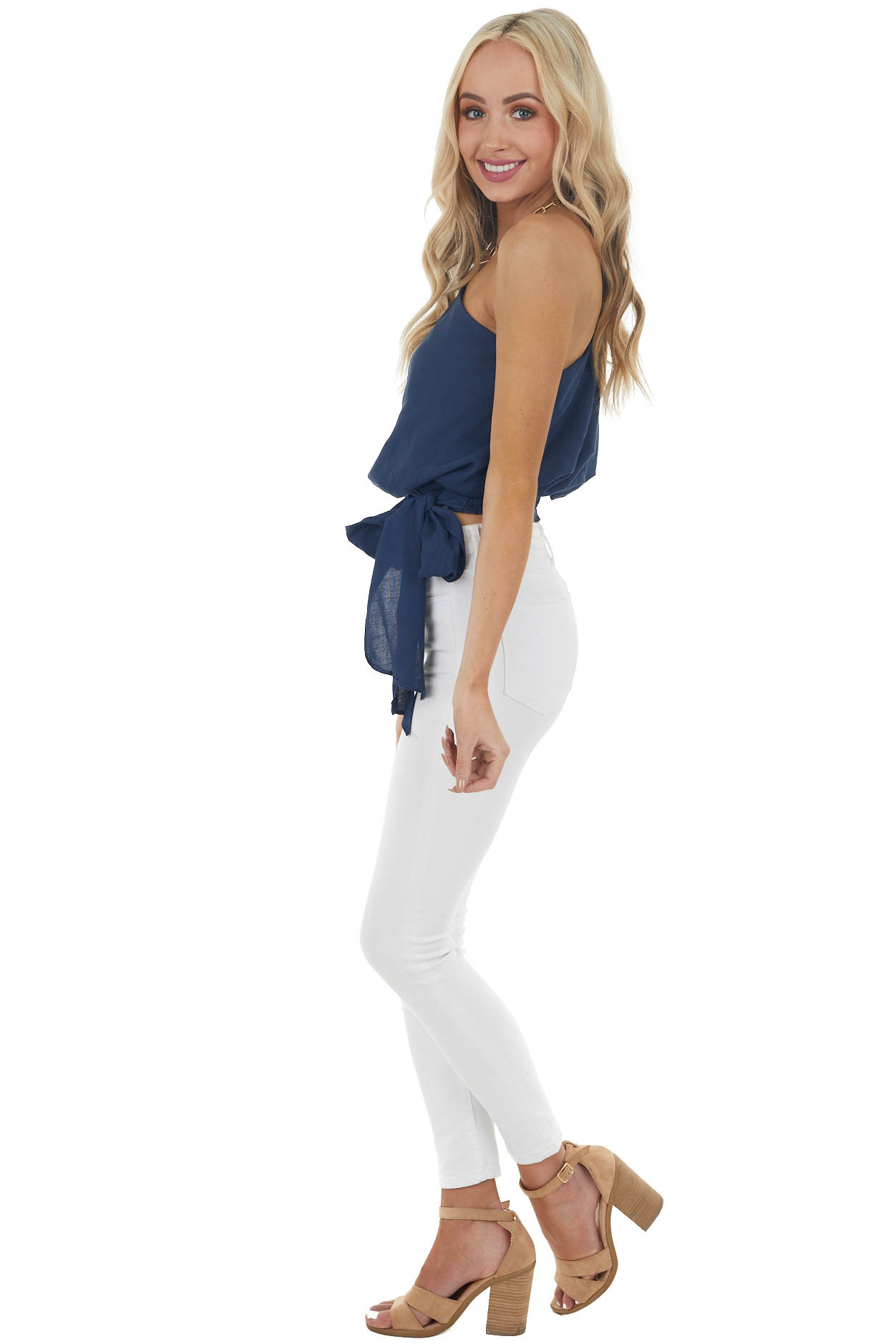 Navy Blue One Shoulder Short Sleeve Top with Side Tie