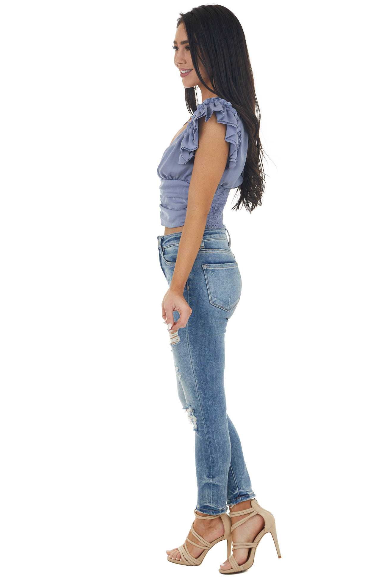 Stormy Blue Short Sleeve Crop Blouse with Ruching Details