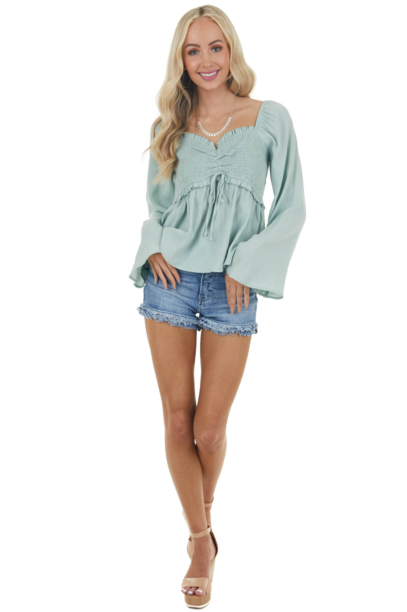 Rich Sage Long Flare Sleeve Smocked Bust Peasant Blouse