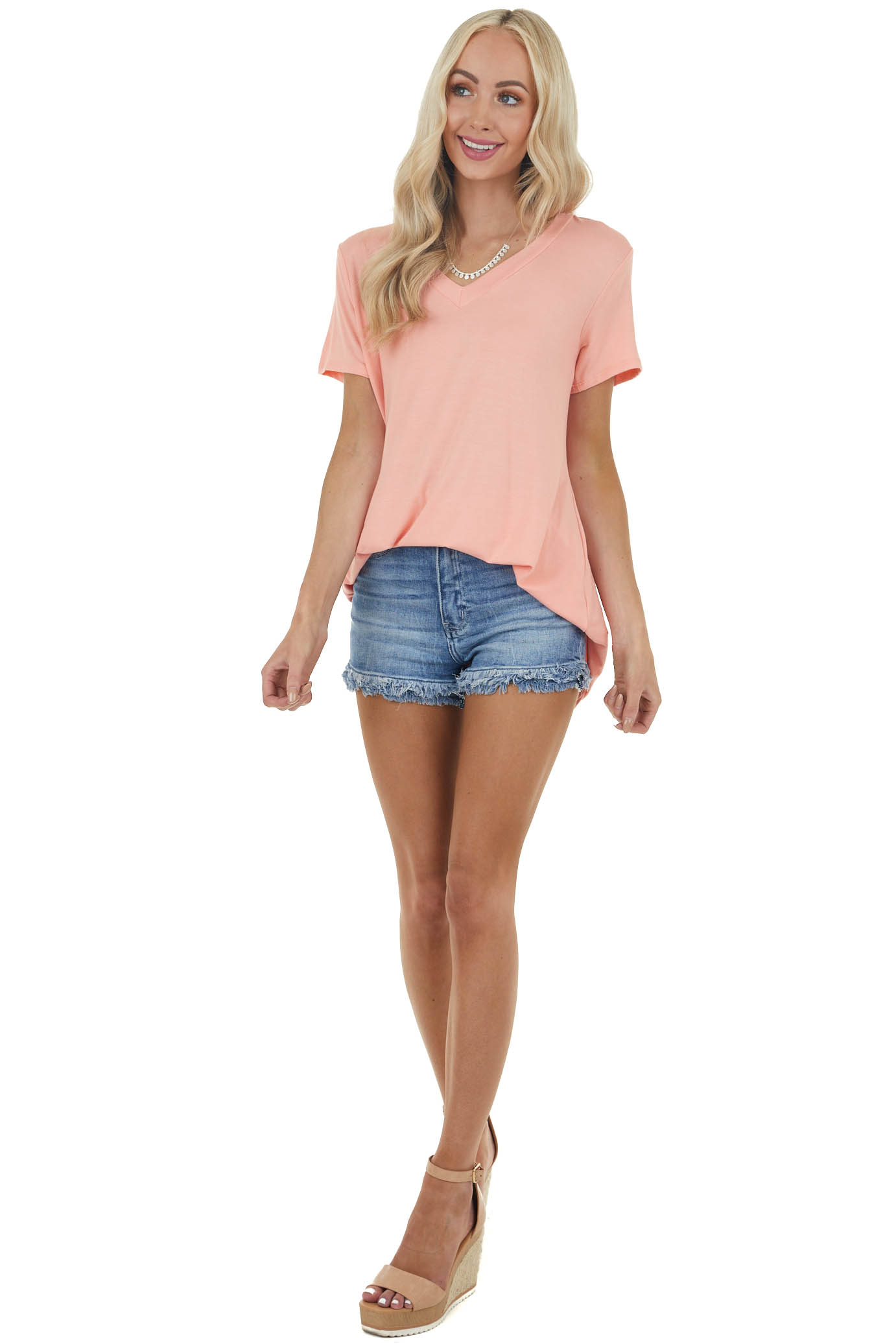 Light Coral Short Sleeve Solid Knit Tee with V Neckline
