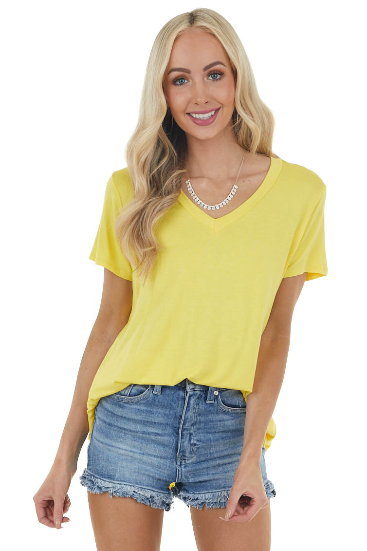 Sunshine Yellow Short Sleeve Solid Knit Tee with V Neckline