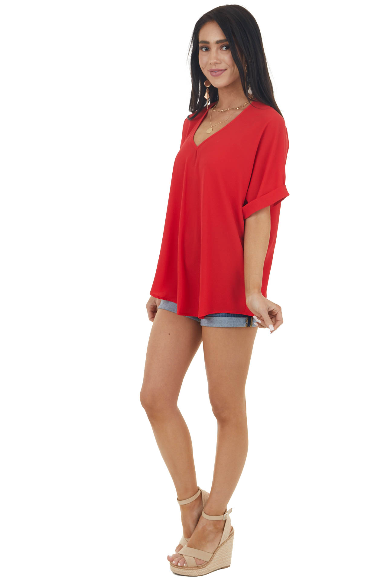 Ruby Red V Neck Loose Fit Textured Blouse with Short Sleeves