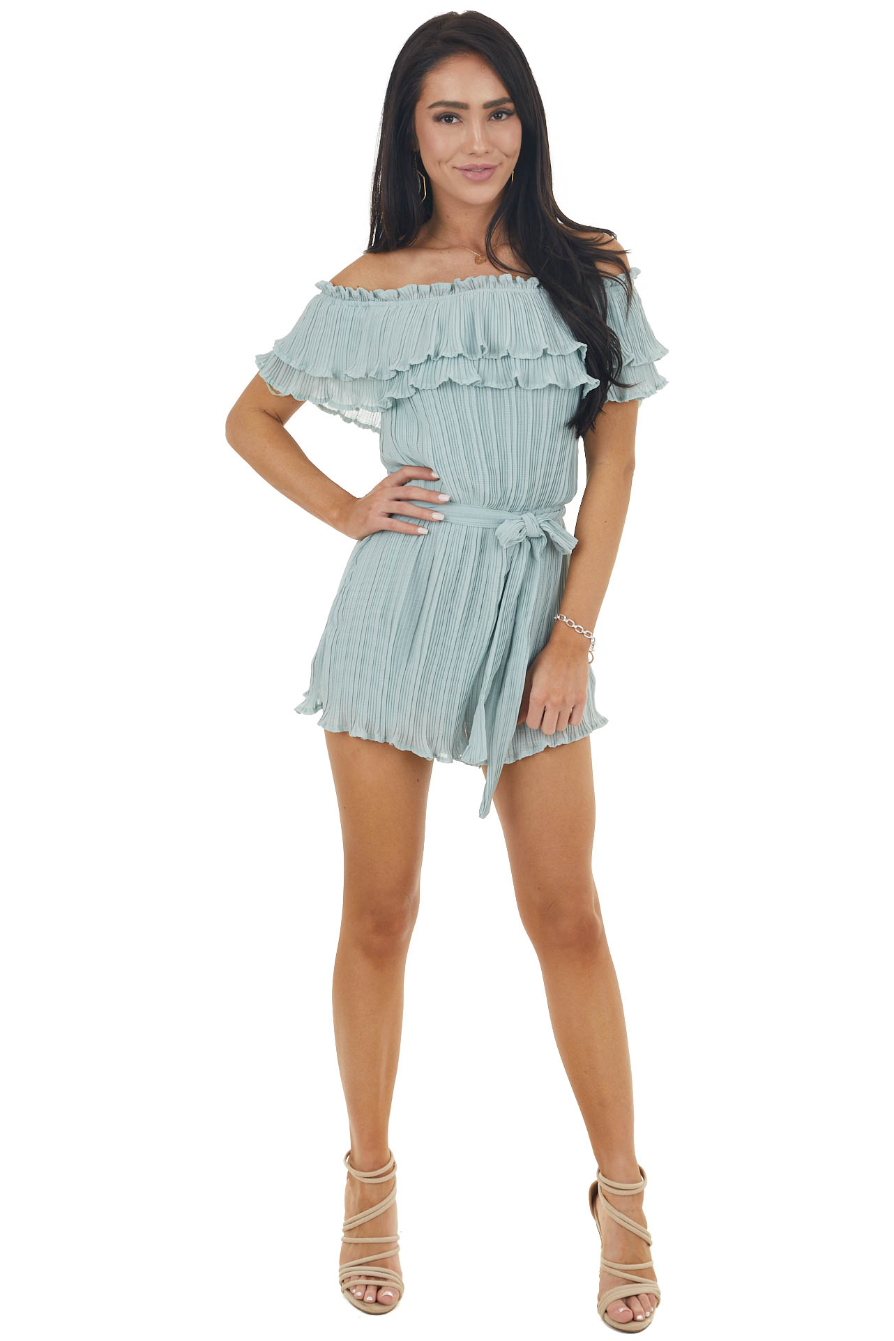 Sage Green Pleated Off Shoulder Romper with Short Sleeves