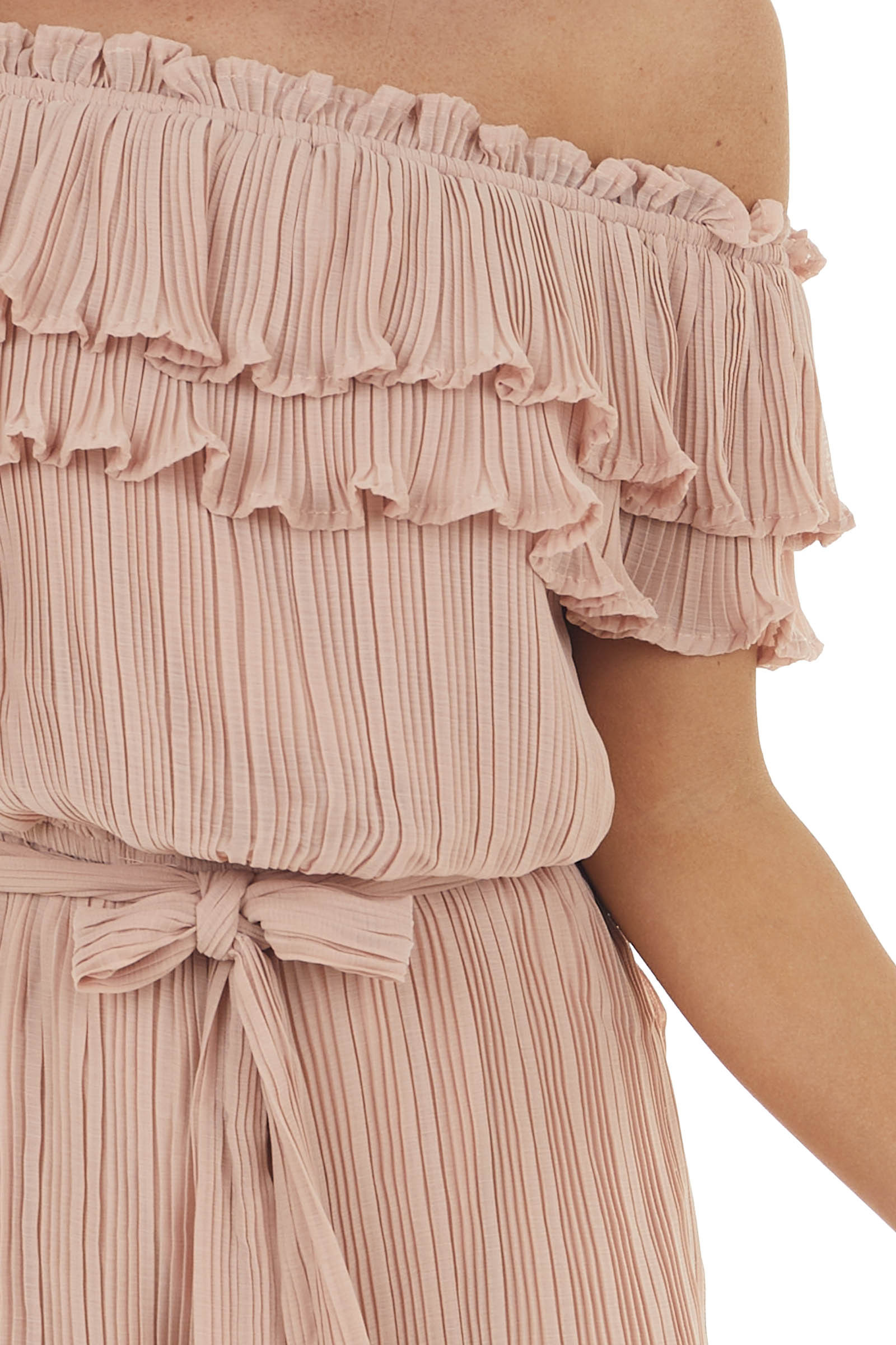 Dusty Peach Pleated Off Shoulder Romper with Short Sleeves