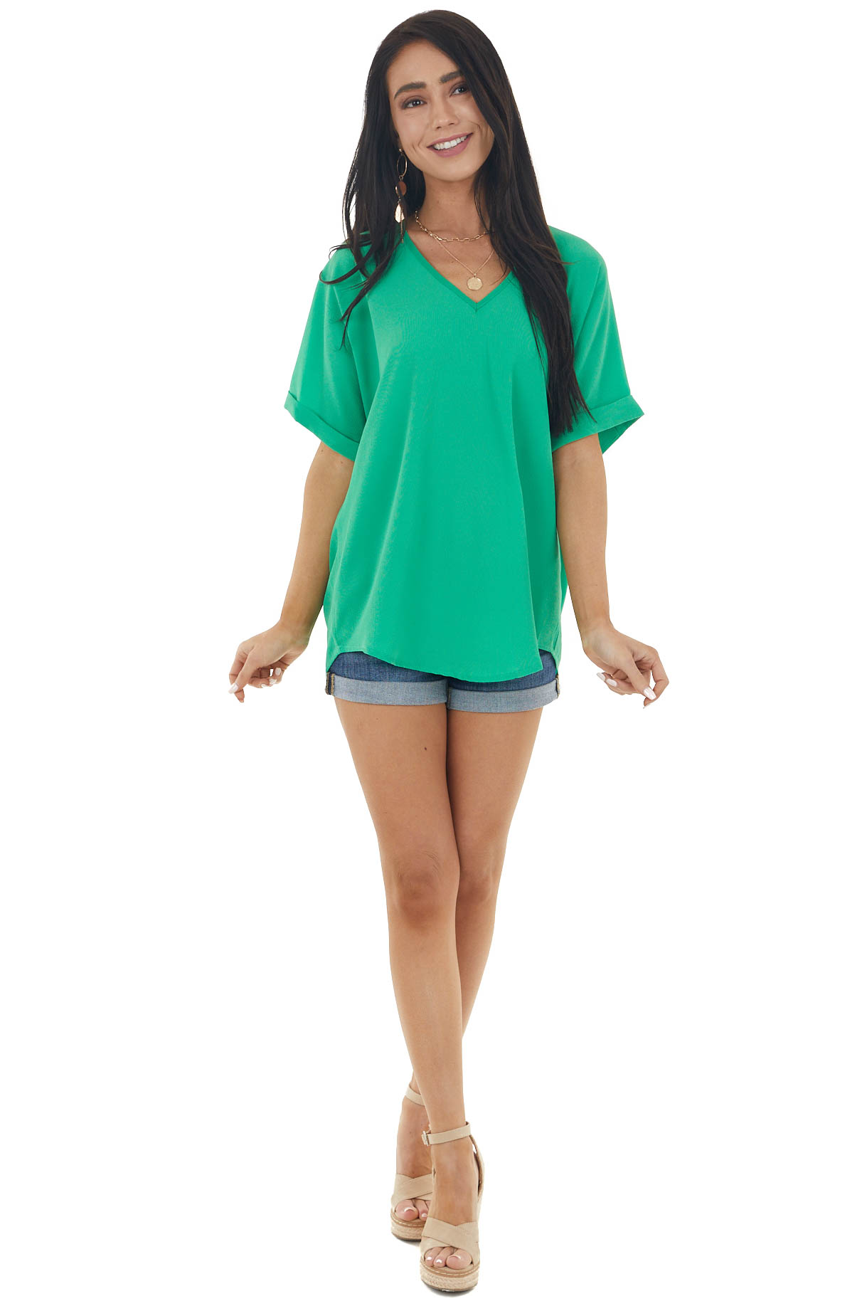 Kelly Green V Neck Loose Fit Textured Short Sleeve Blouse