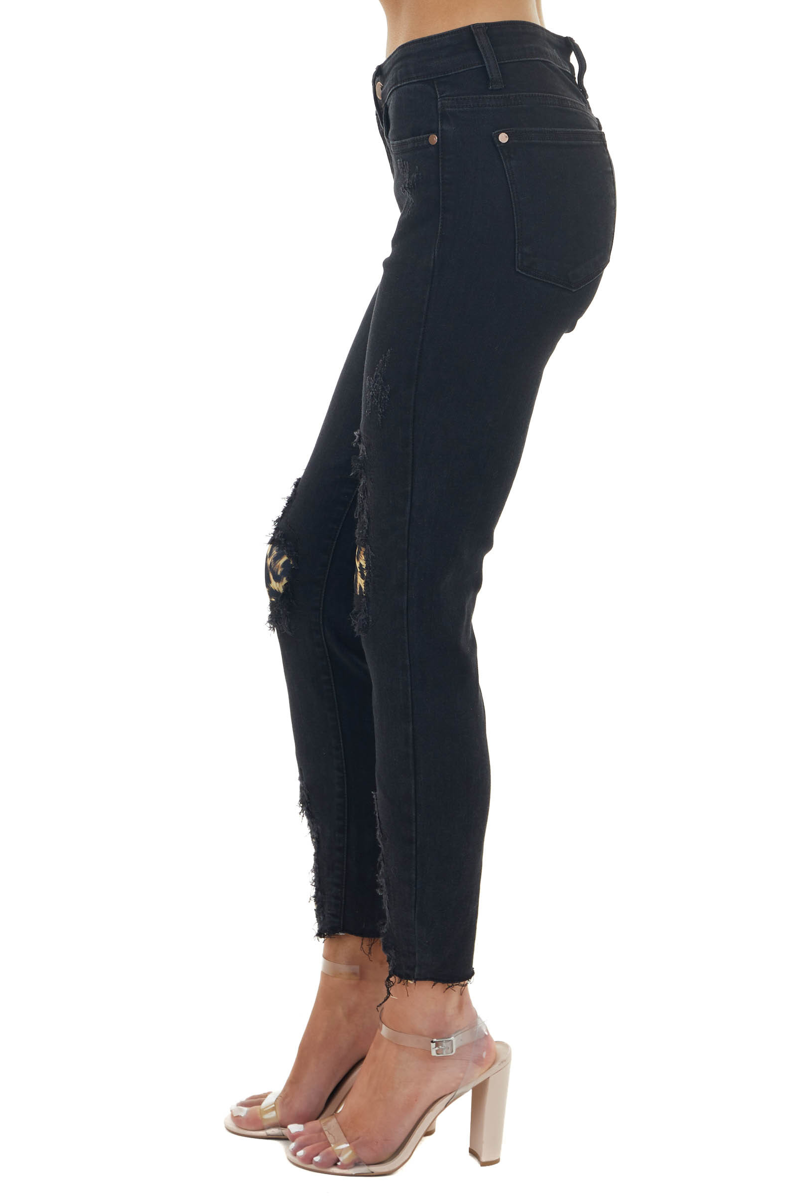 Black Mid Rise Distressed Skinny Jeans with Leopard Patches