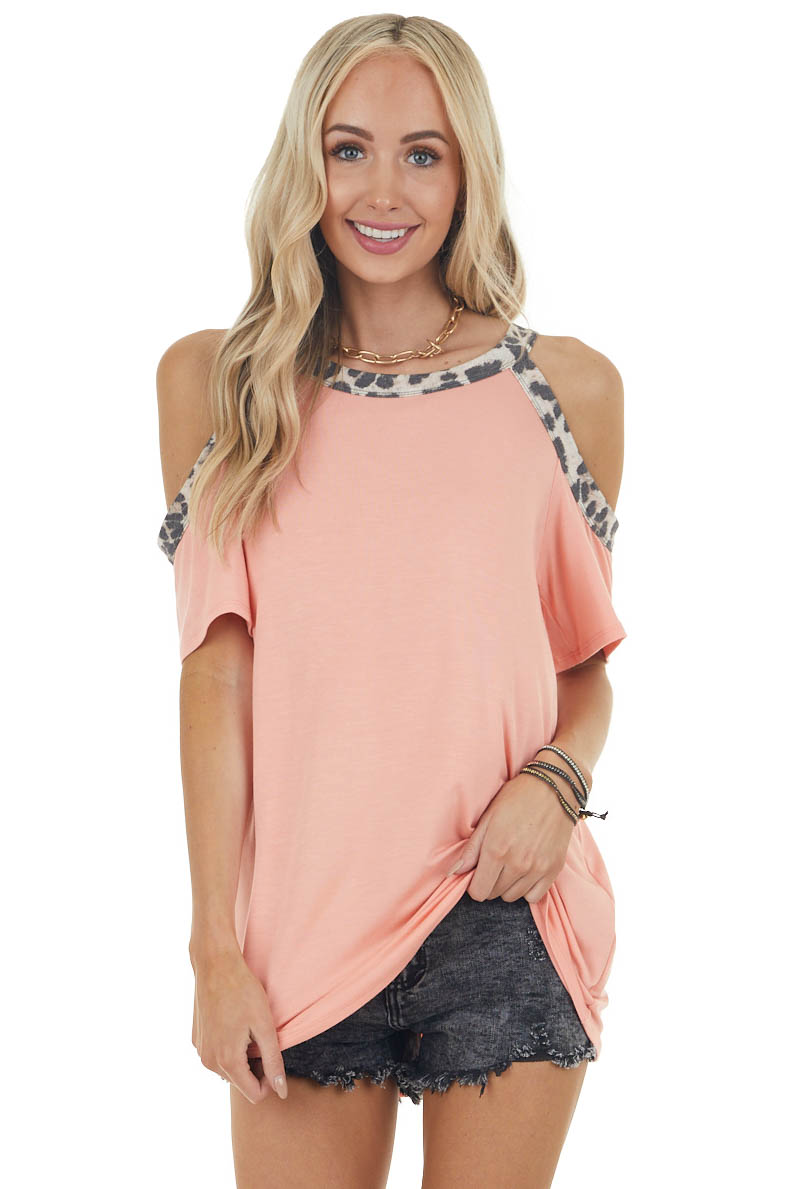 Light Coral Leopard Print Contrast Cold Shoulder Knit Top