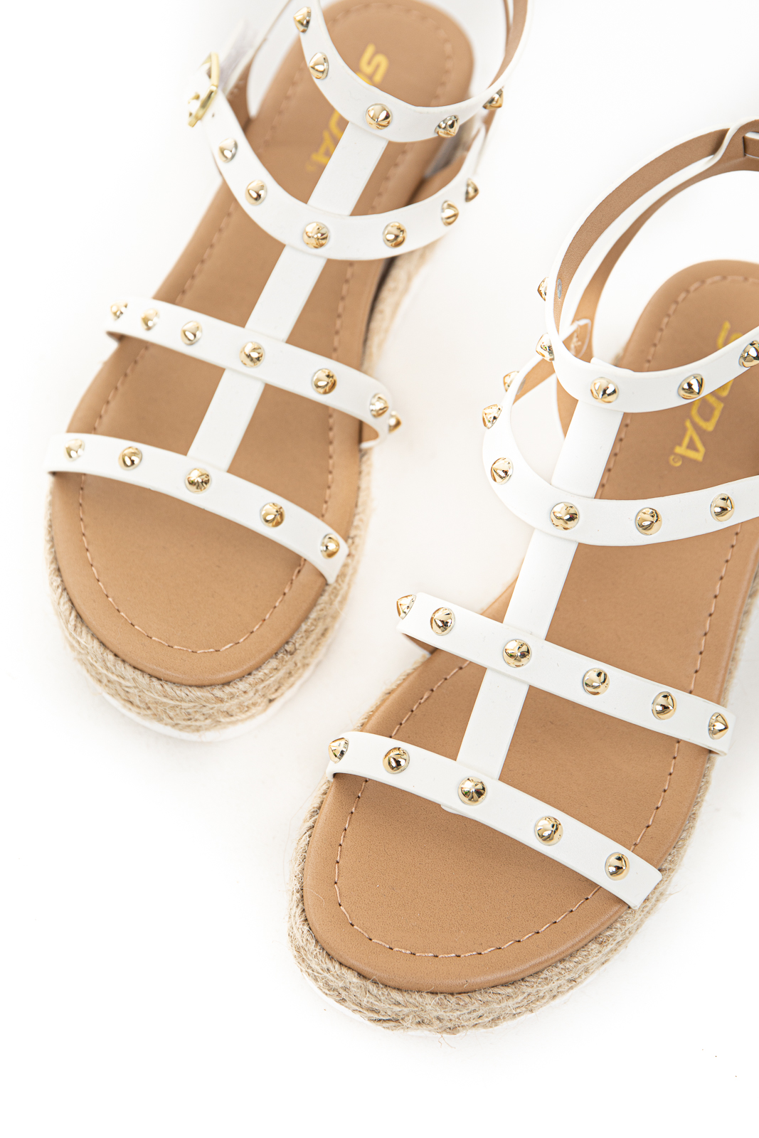 Ivory Strappy Espadrille Sandals with Gold Spike Detail