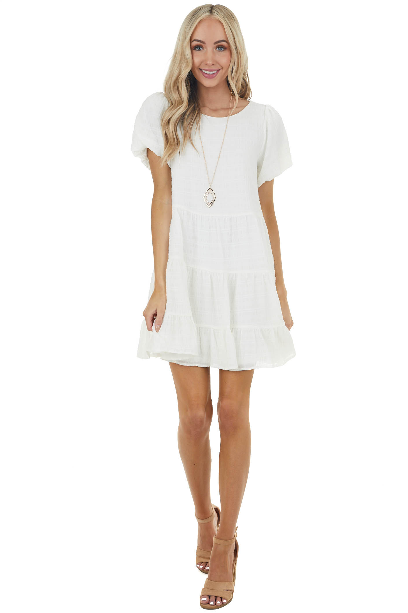 Ivory Textured Woven Short Drop Waist Tiered Dress